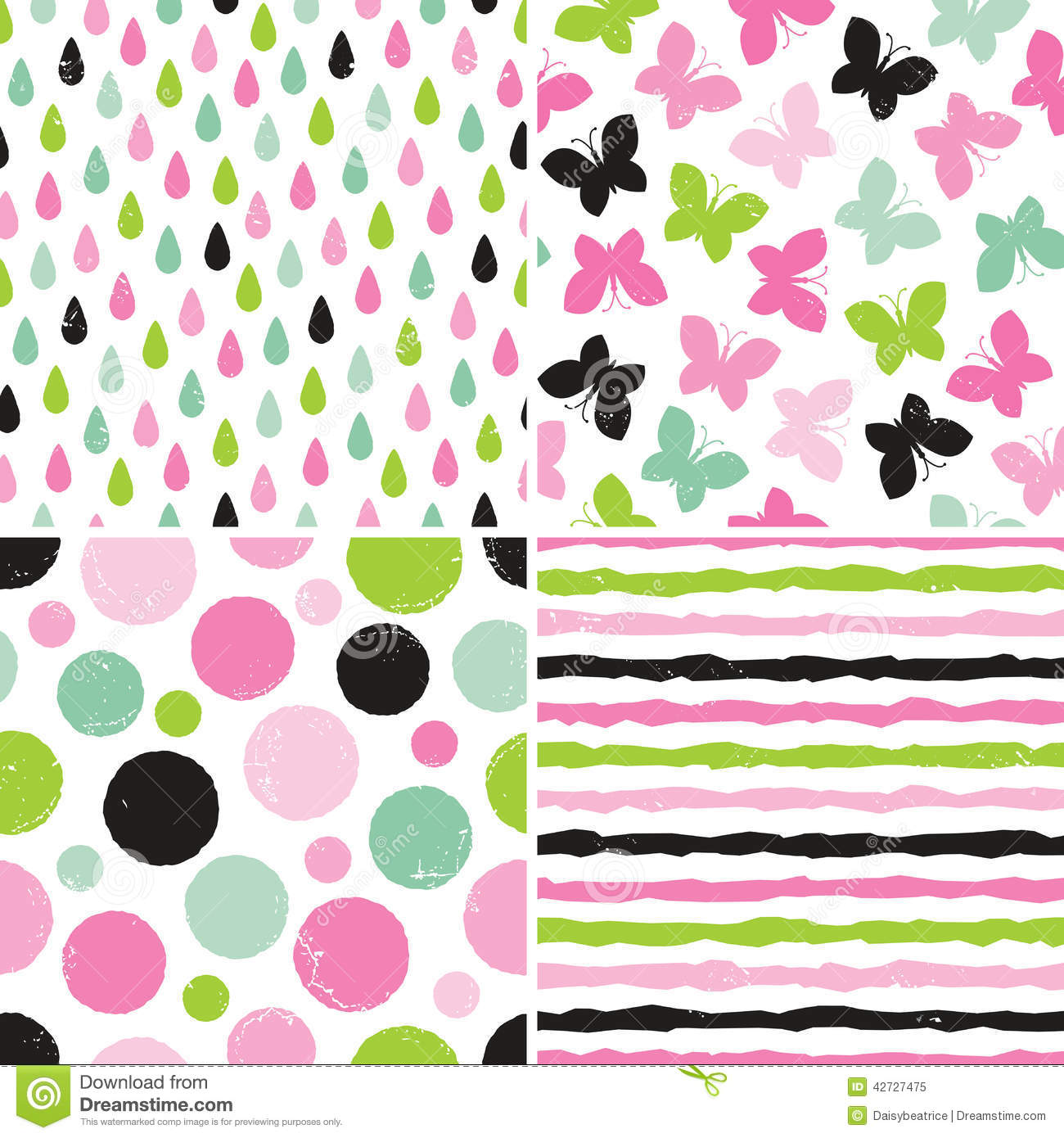 Seamless hipster patterns for girls in pink and green - Rayas horizontales ...