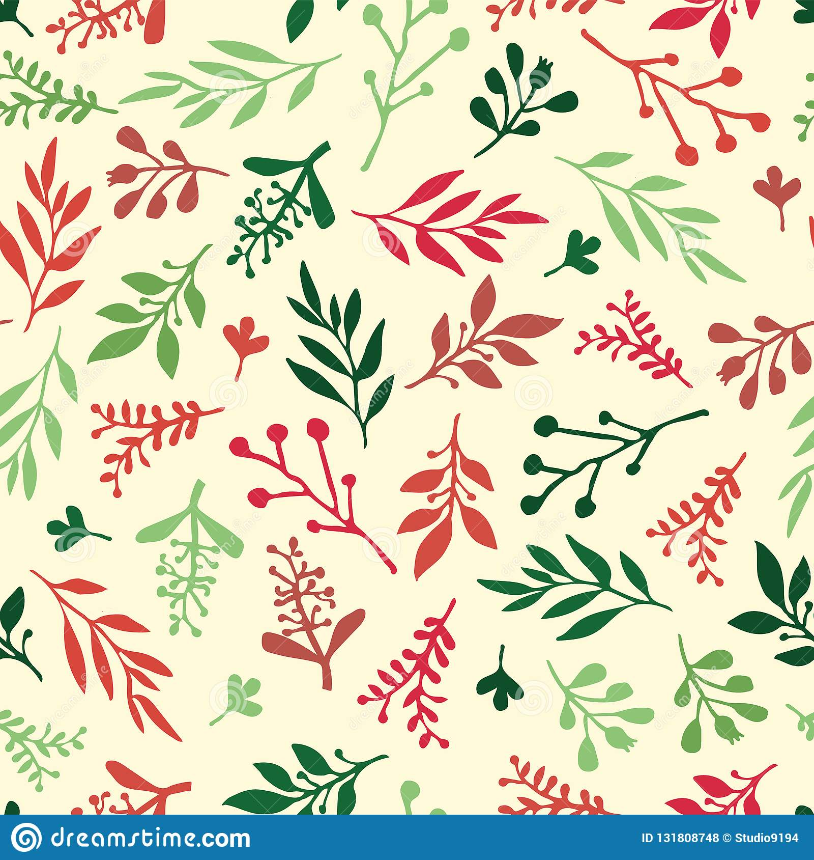 Seamless Holiday vector background with abstract leaves red, green, beige. Simple leaf texture, endless foliage pattern. Christmas