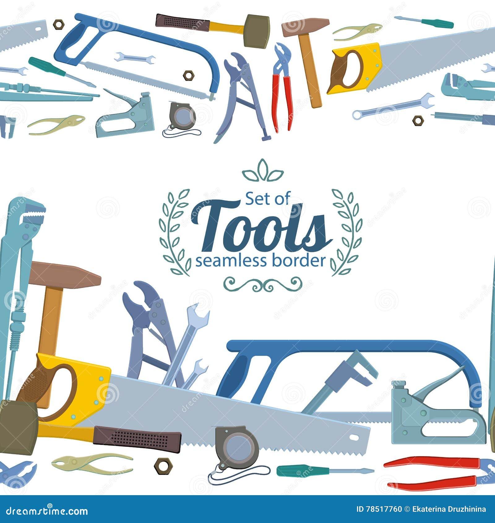 Seamless Horizontal Borders Of Repair Tools Stock Vector ...
