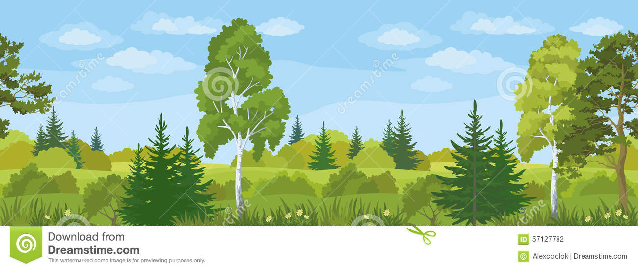 Seamless Horizontal Landscape, Summer Forest Stock Vector ...
