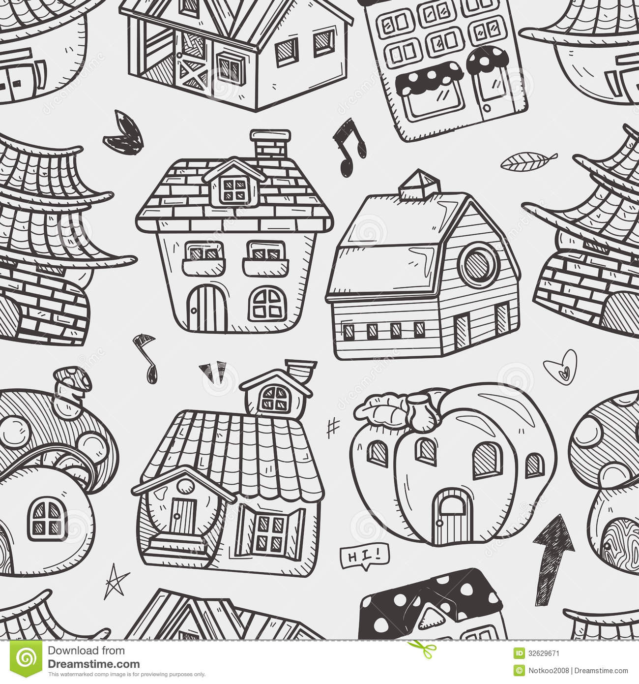 Seamless House Pattern Stock Vector Illustration Of