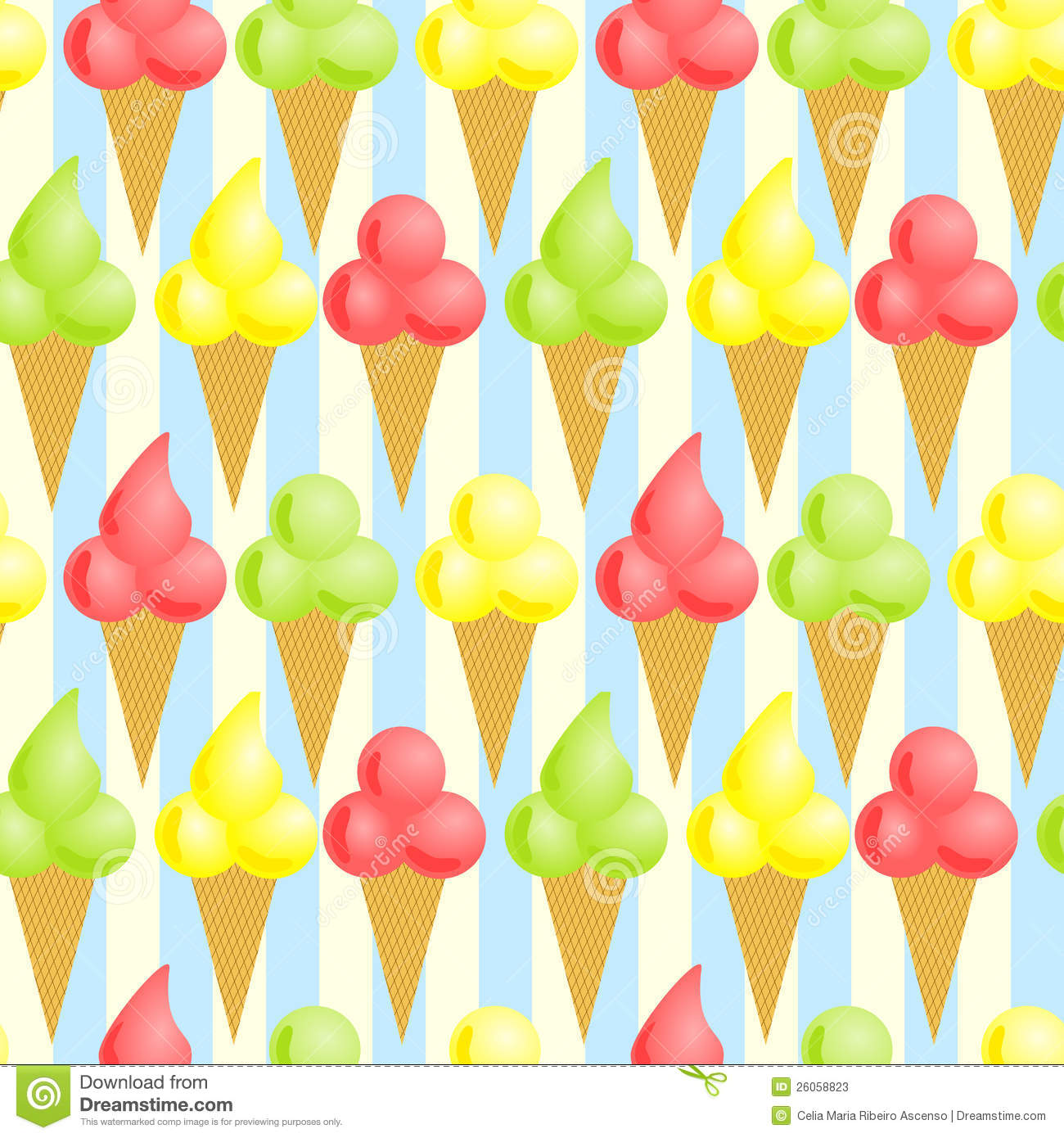 Free Backgrounds Ice Cream Cone Hd Desktop Wallpaper: Seamless Ice Cream Cones Background Stock Illustration