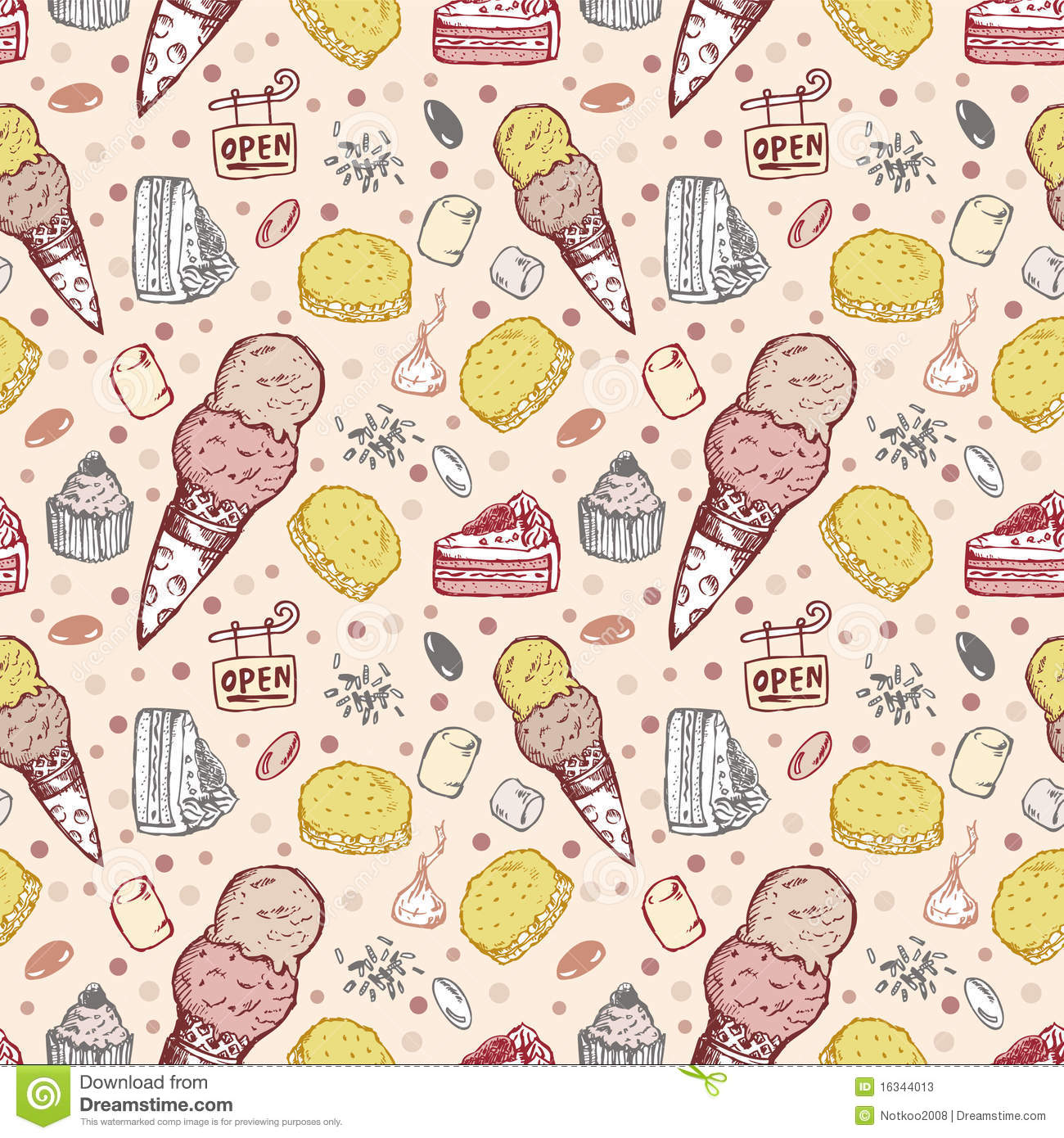 Sweet Ice Cream Flat Colorful Seamless Pattern Vector: Seamless Ice Cream Pattern Stock Vector. Illustration Of