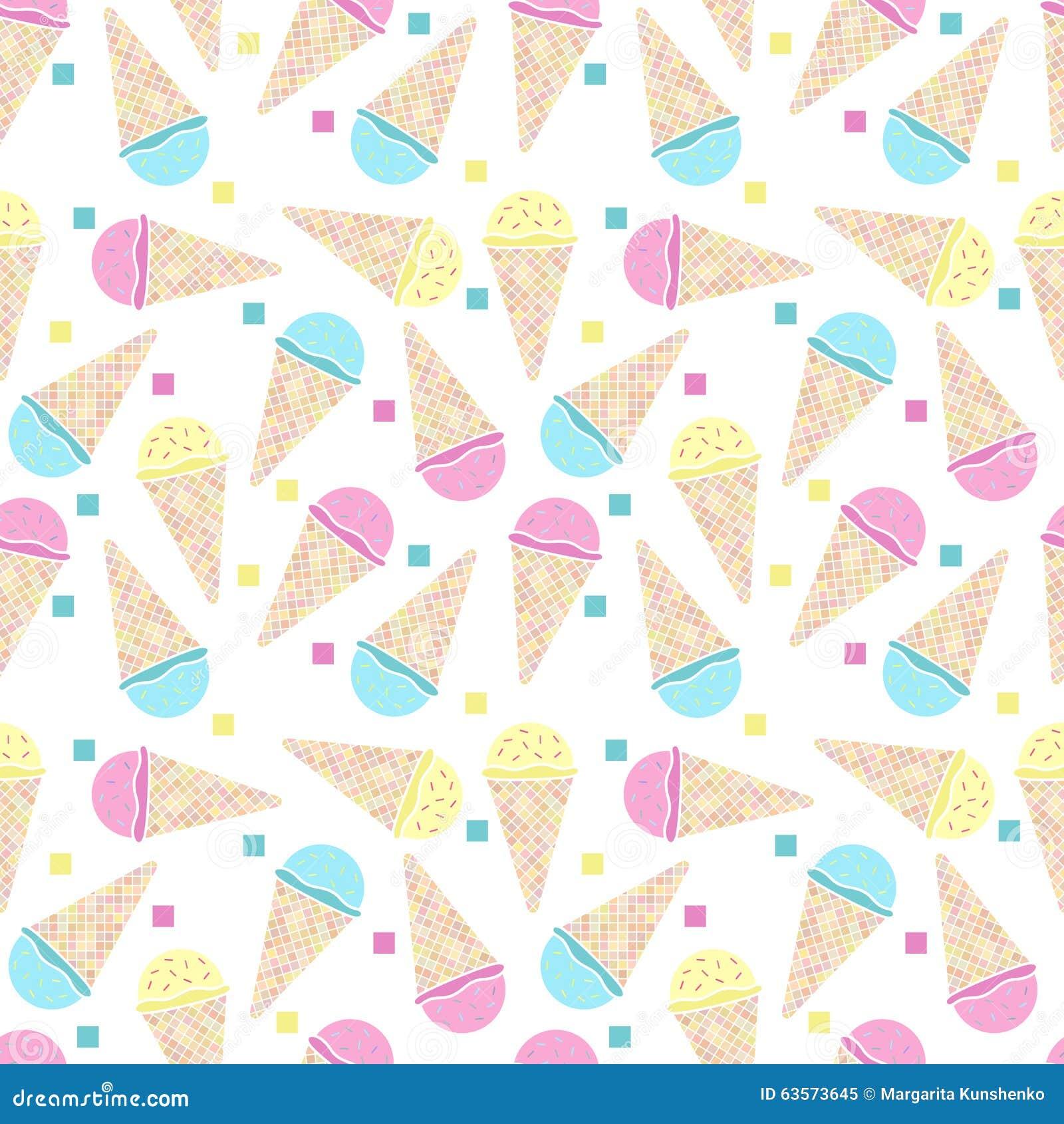 Ice Cream Cones Seamless Pattern Background Stock Vector: Seamless Ice Cream Pattern Stock Vector