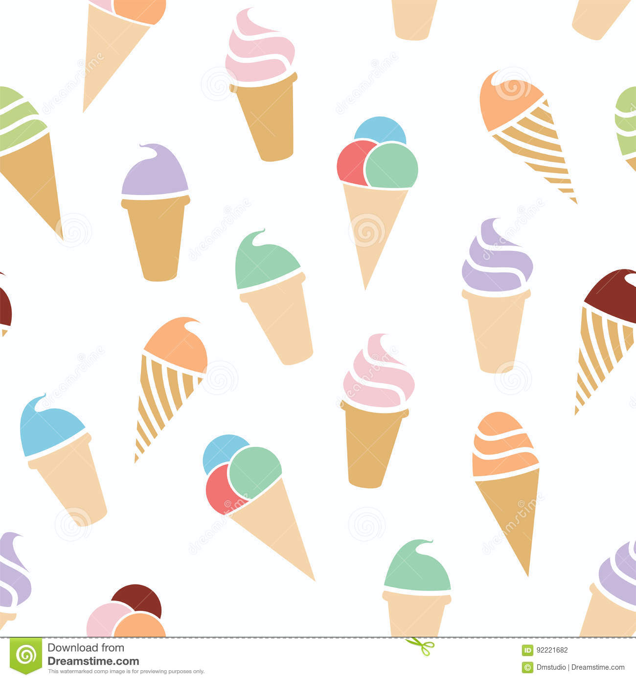 Sweet Ice Cream Flat Colorful Seamless Pattern Vector: Seamless Ice Cream Pattern, Vector Vector Illustration