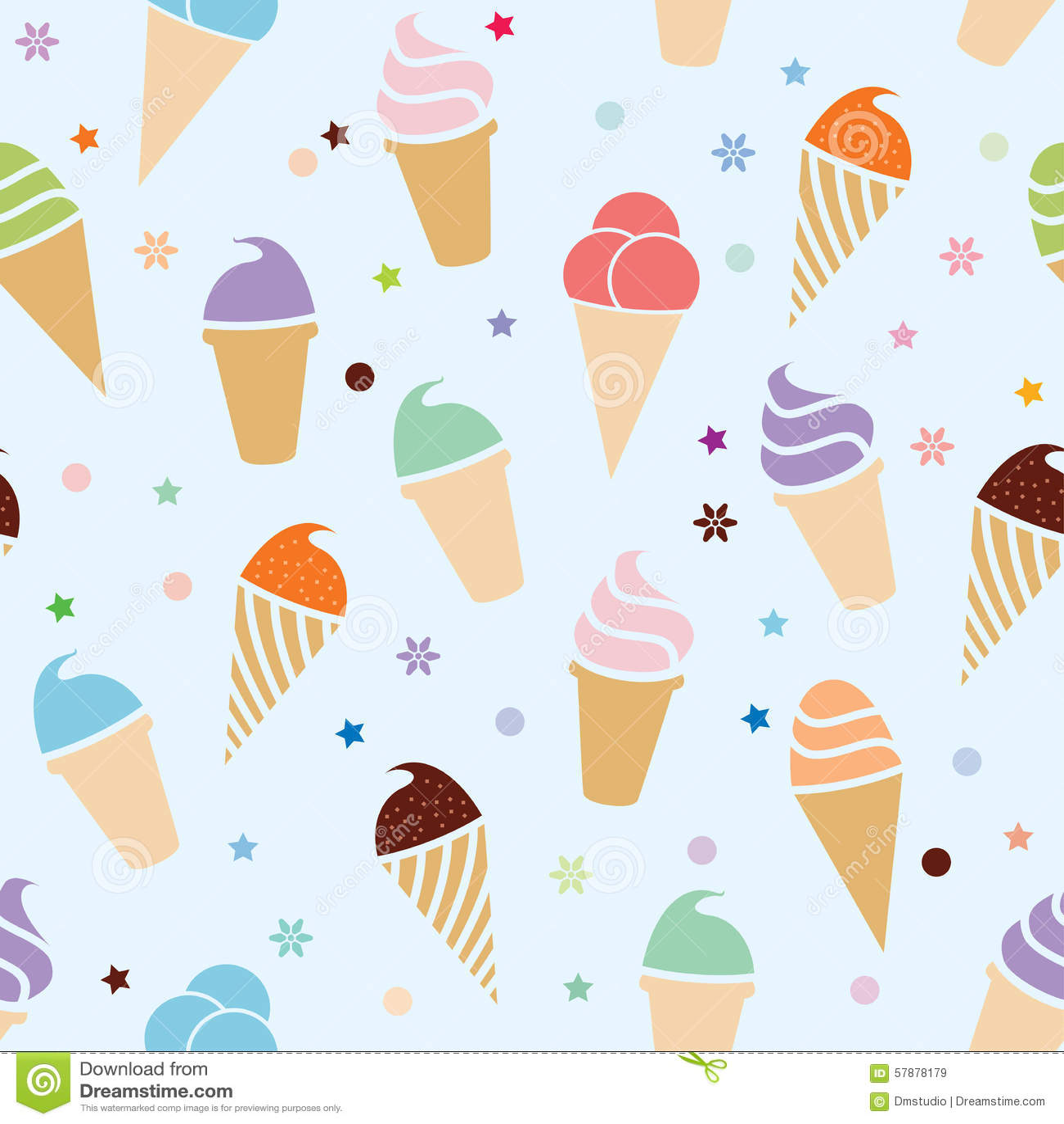 Seamless Ice Cream Background Vintage Style: Vector Seamless Icecream Pattern Stock Vector