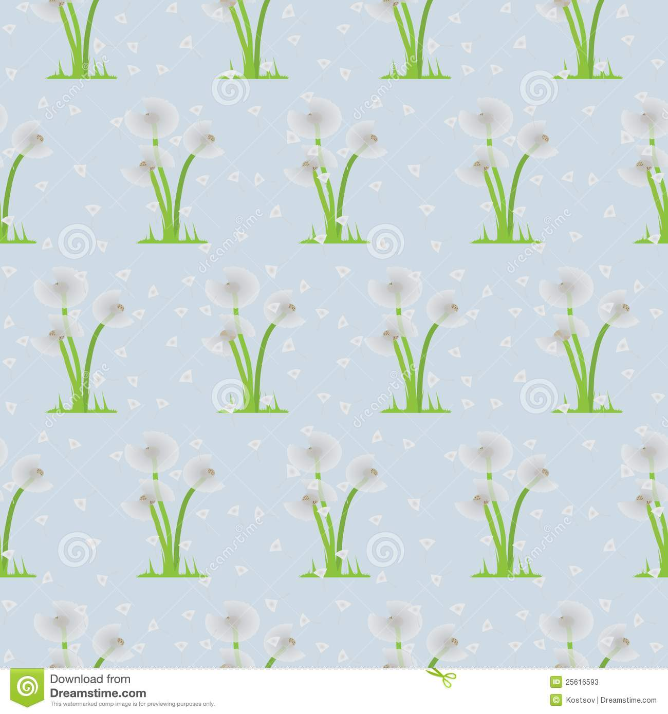 Seamless Illustration Of Dandelions On Background Stock