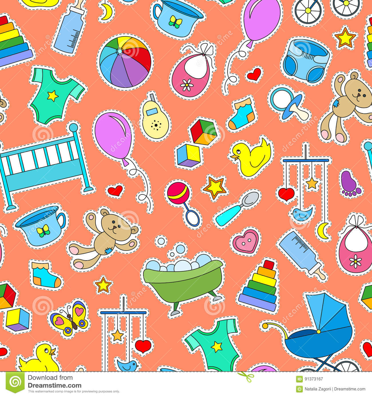Seamless illustration on the theme of childhood and newborn babies, baby accessories and toys, simple color patches icons on oran