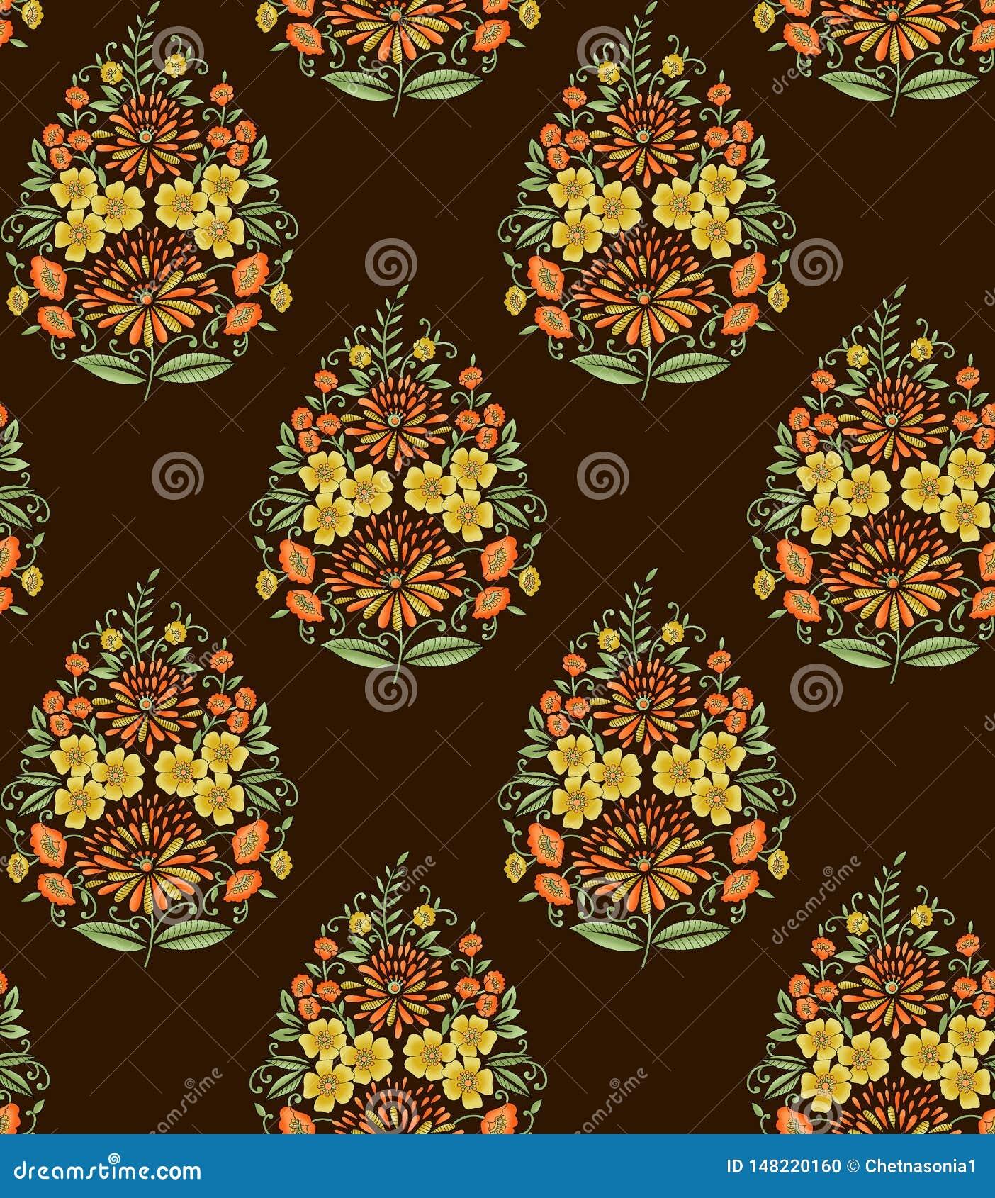 Seamless Indian mughal flower motif