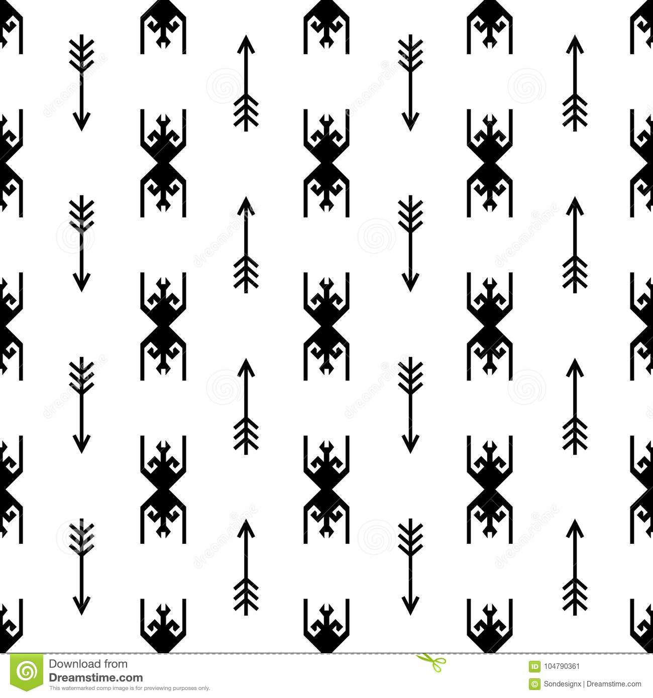 Seamless Indian Pattern Vector Arrows And Usa Native American Type