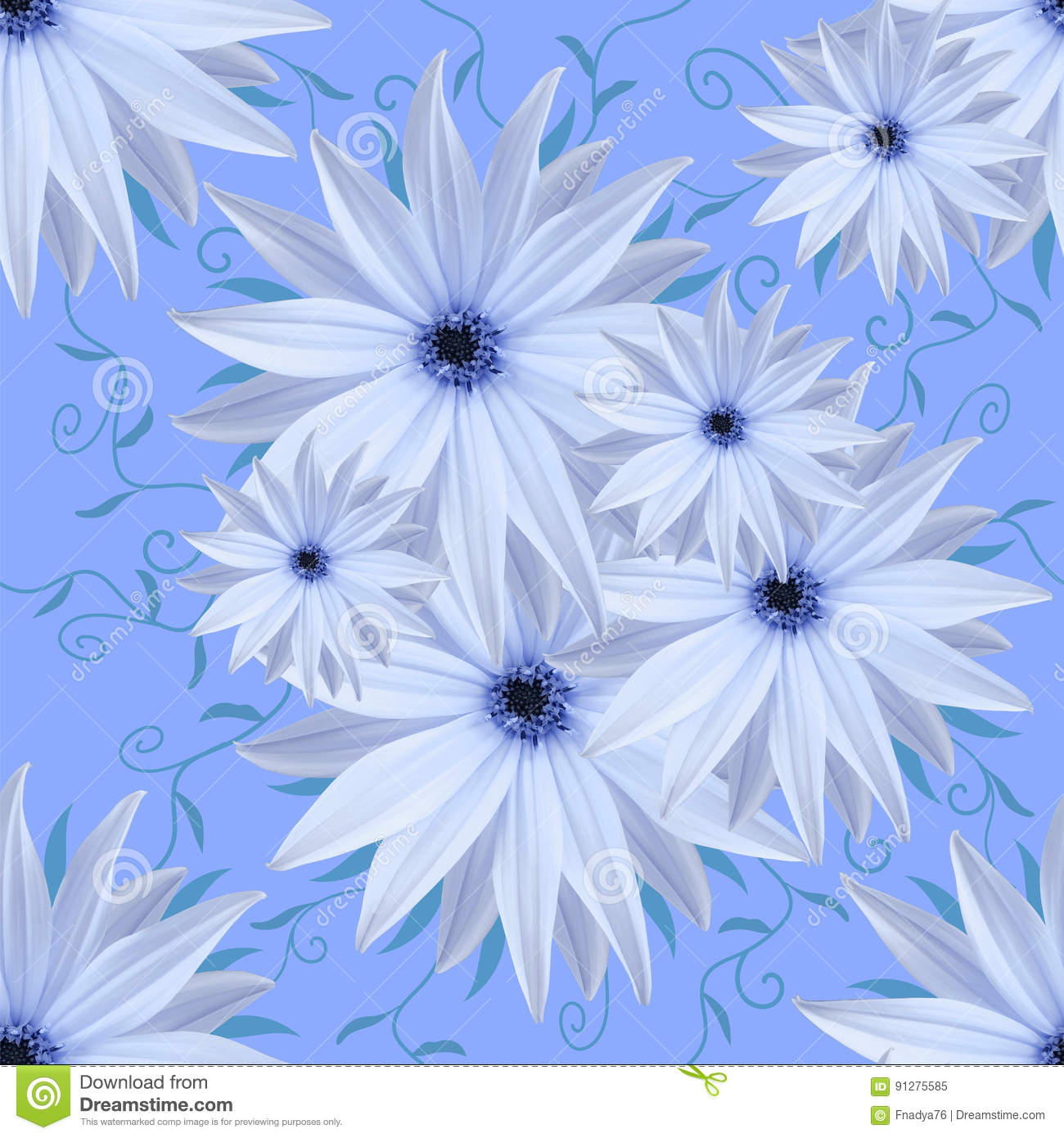 Seamless infinite background floral white blue flowers for seamless infinite background floral white blue flowers for design and printing background of natural flowers dhlflorist Gallery