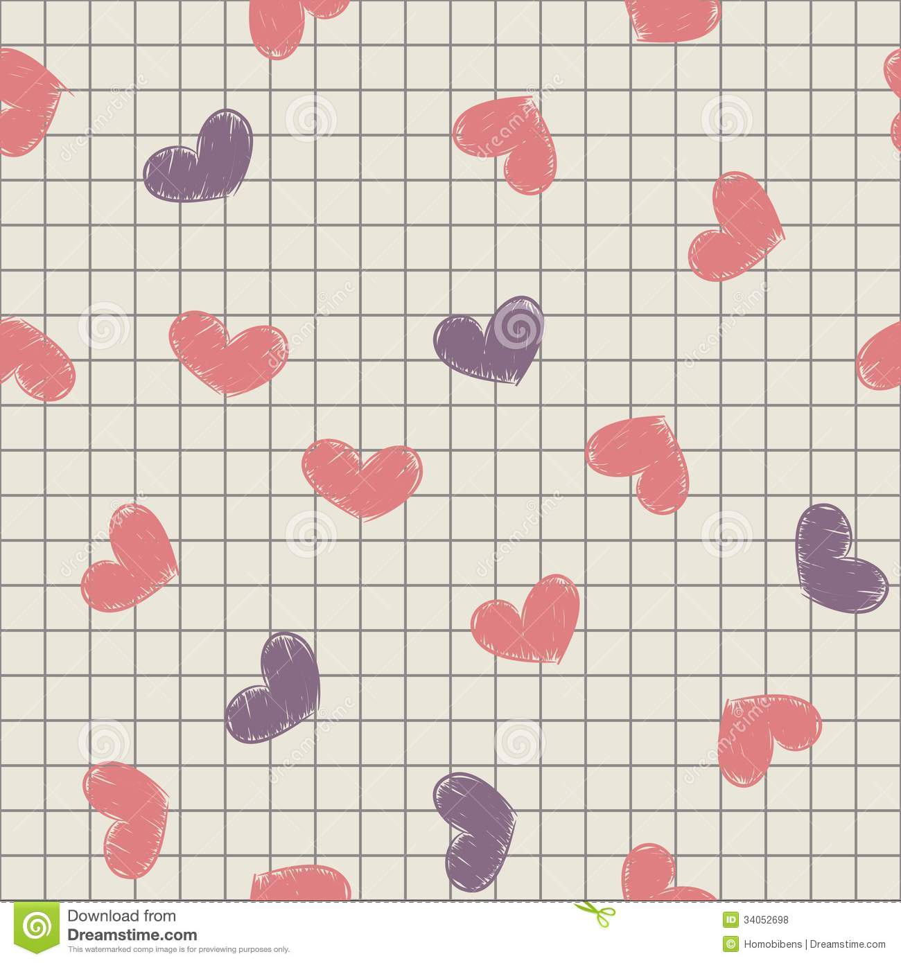 Seamless with ink painted hearts on a sheet of not