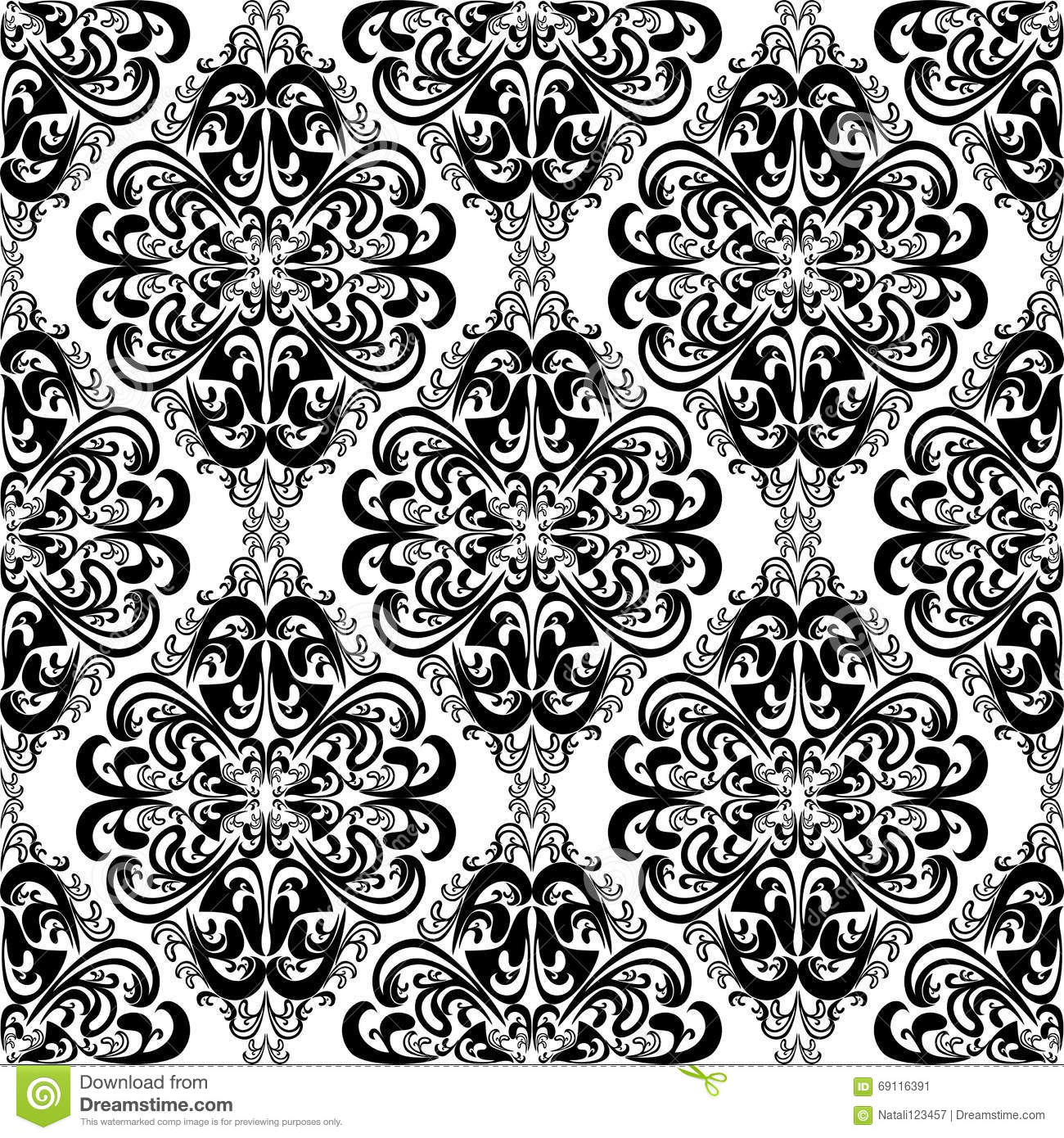 seamless intricate damask wallpaper for design black and