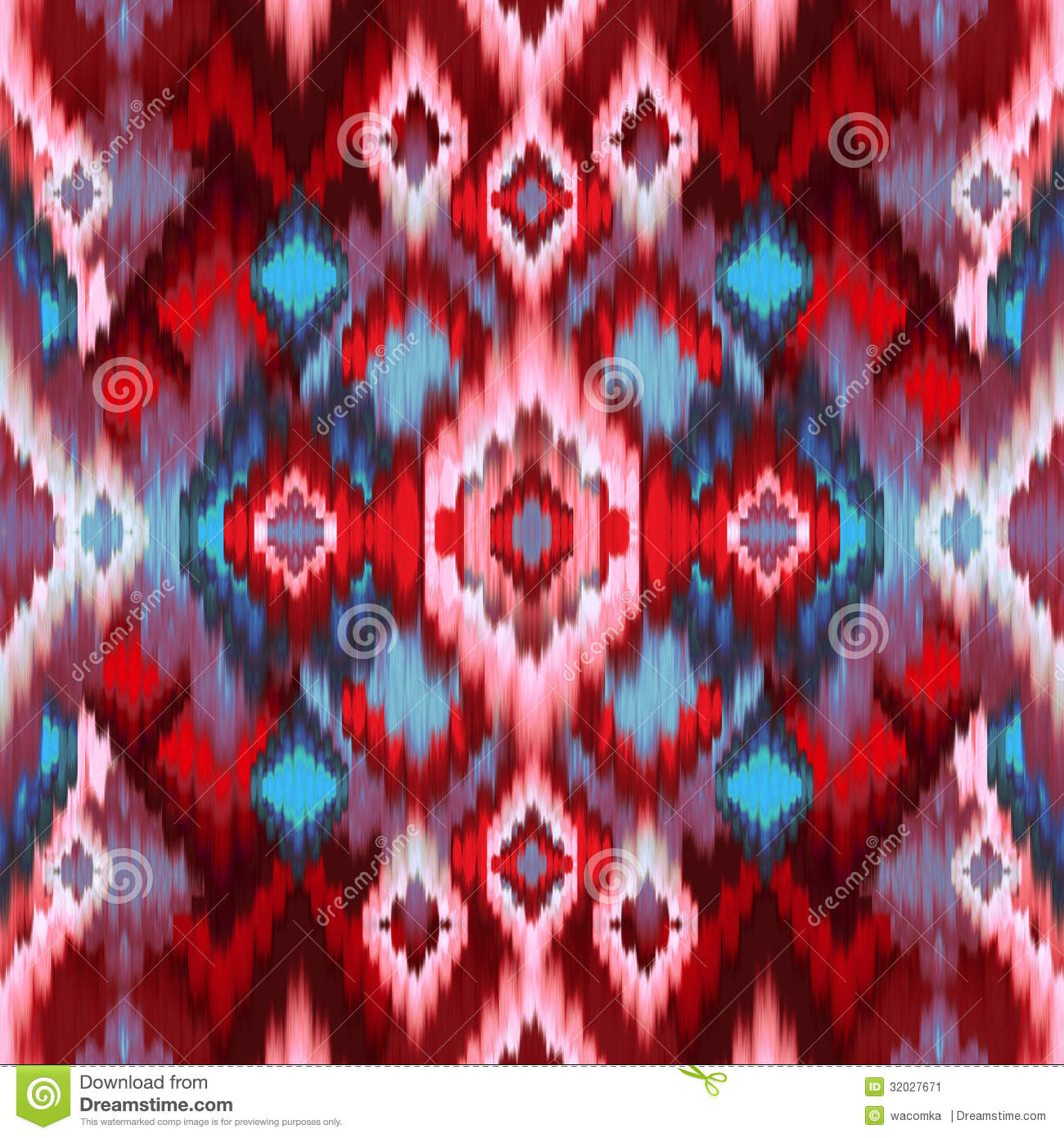 Seamless intricate ikat pattern background stock image - Ikat muster ethno design ...