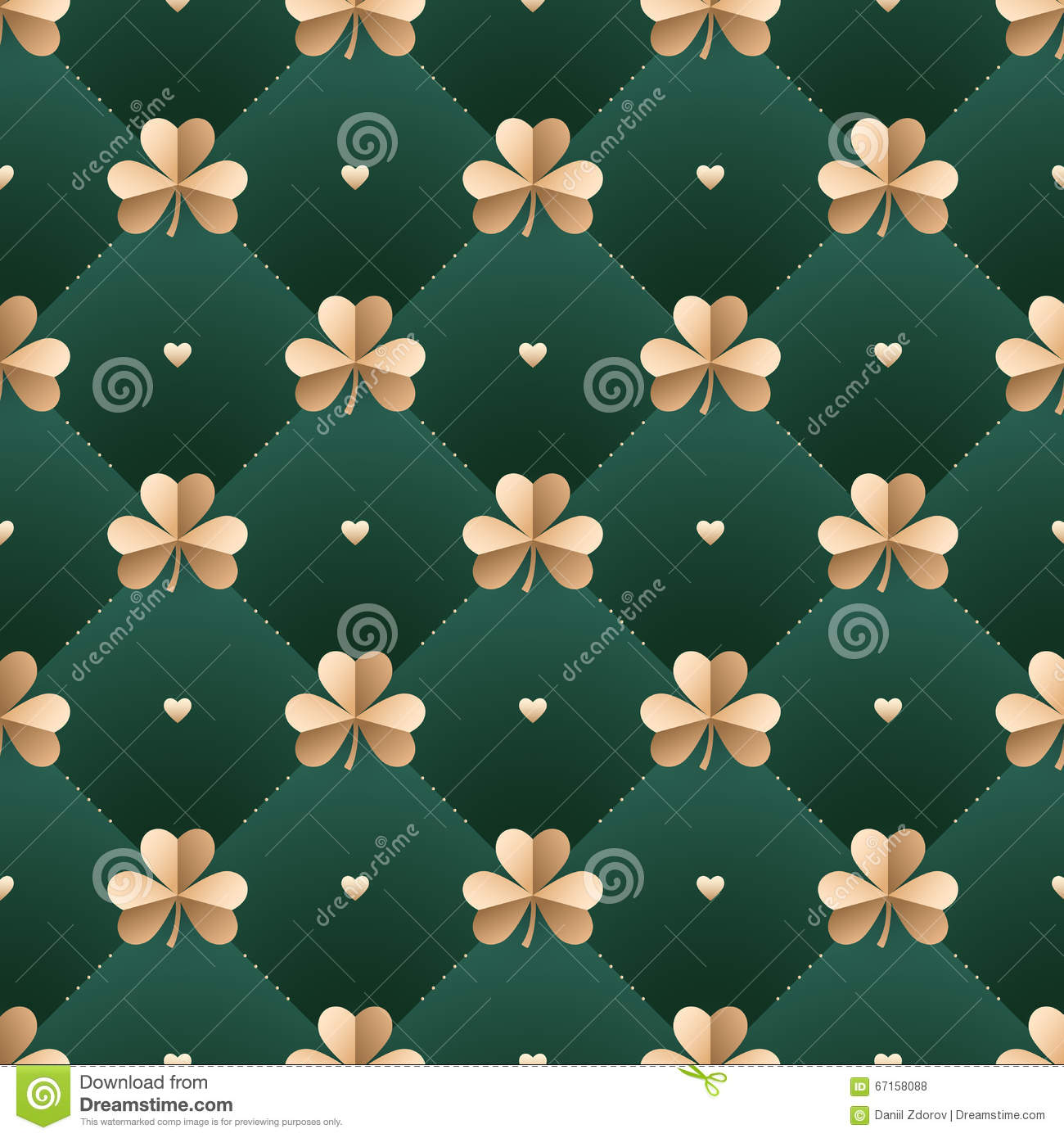 Seamless irish gold pattern with clover and heart on a dark green background. Pattern for St. Patrick Day. Vector Illustration.