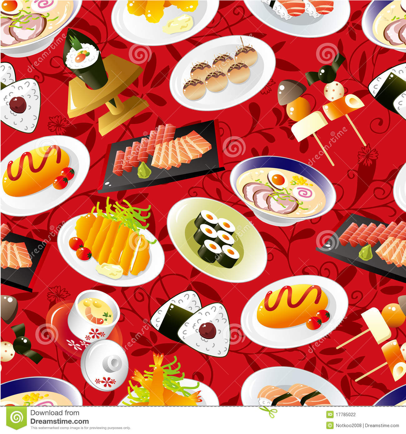 Seamless Japanese Food Pattern Stock Vector Illustration Of Image