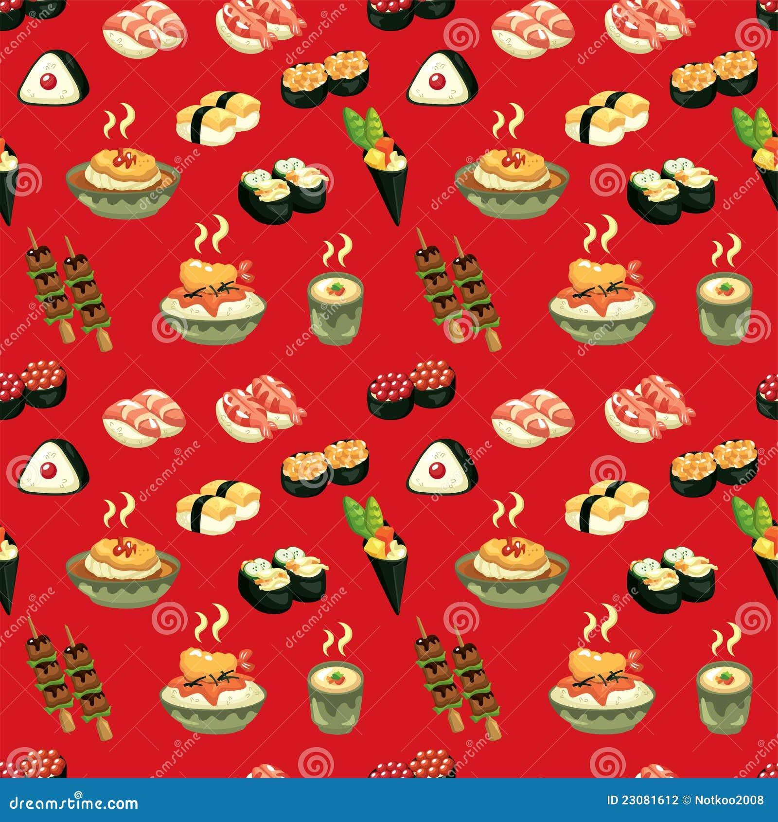 Seamless Japanese Food Pattern Stock Vector - Image: 23081612