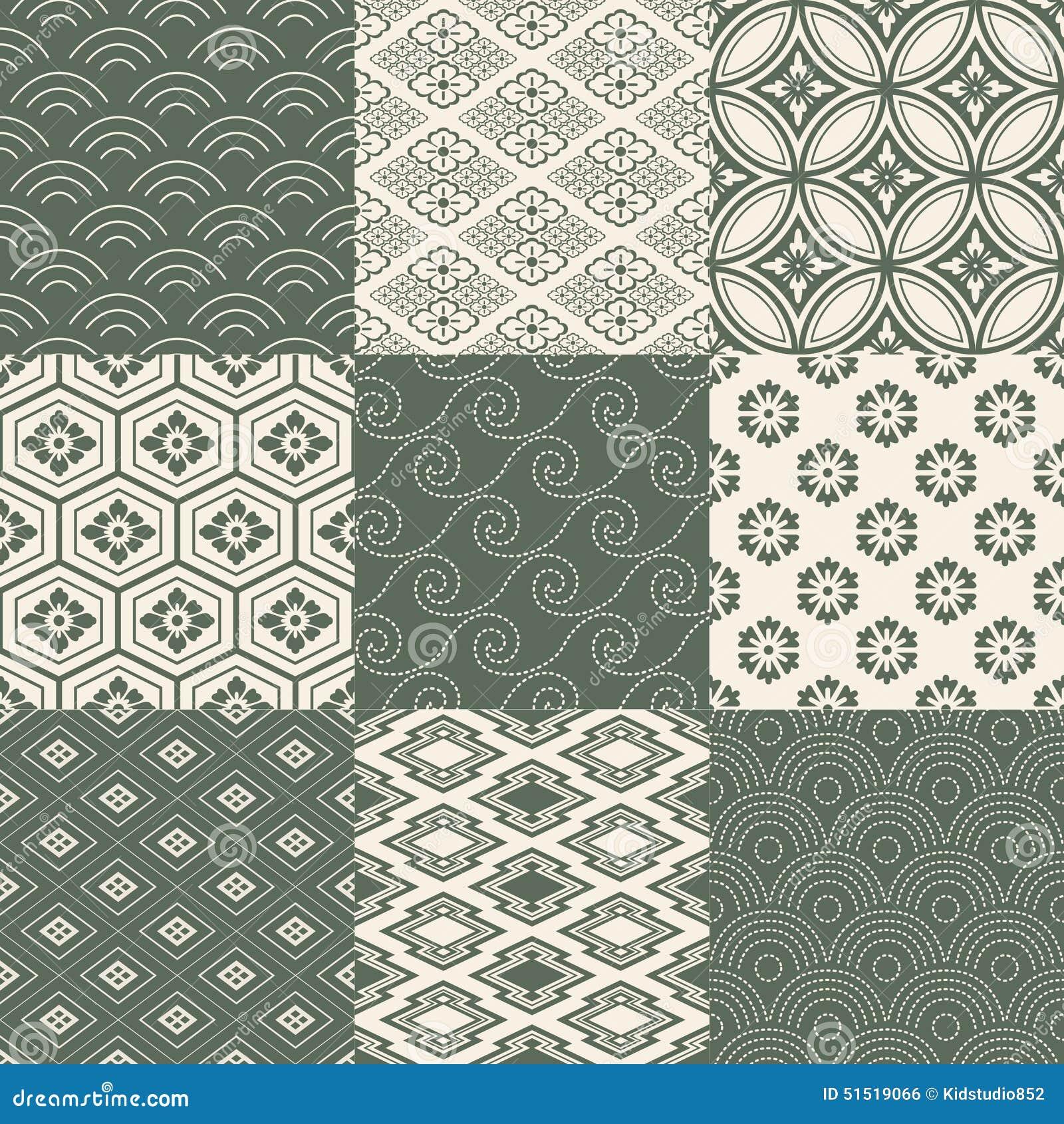 Seamless Japanese Pattern Set Stock Vector - Image: 51519066