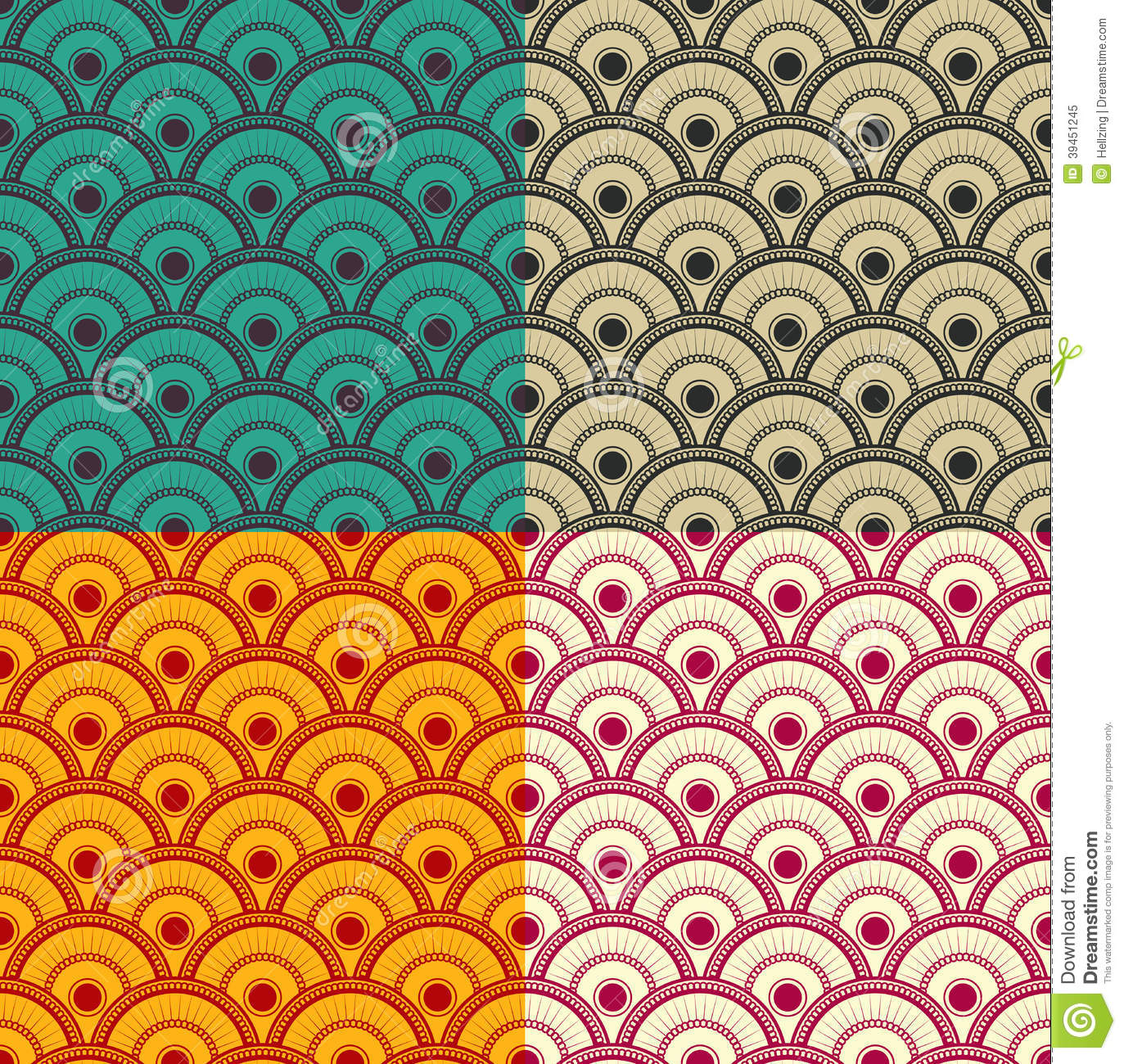 Seamless Japanese Waves Pattern Vector Eps8 Stock Vector