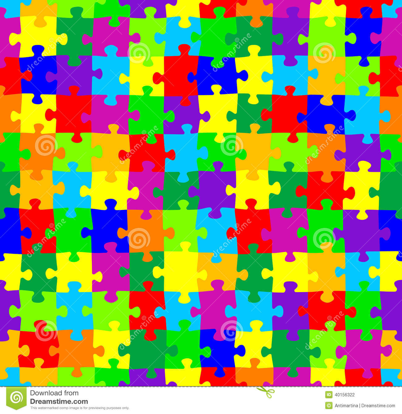 Seamless Jigsaw Puzzle Pattern Stock Vector