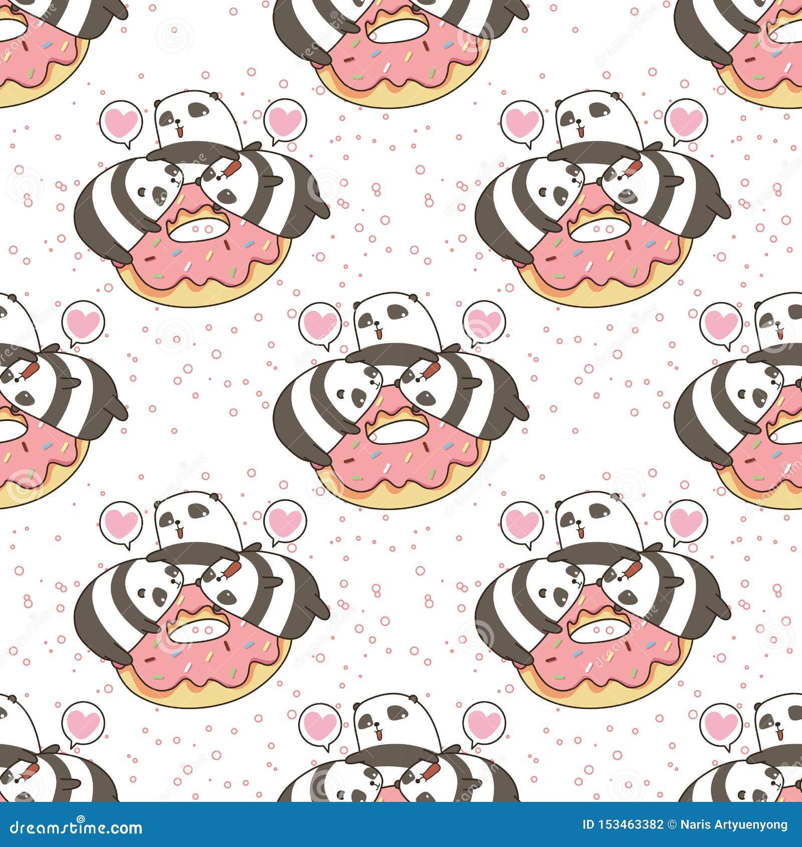 Seamless kawaii pandas character with pink doughnut pattern