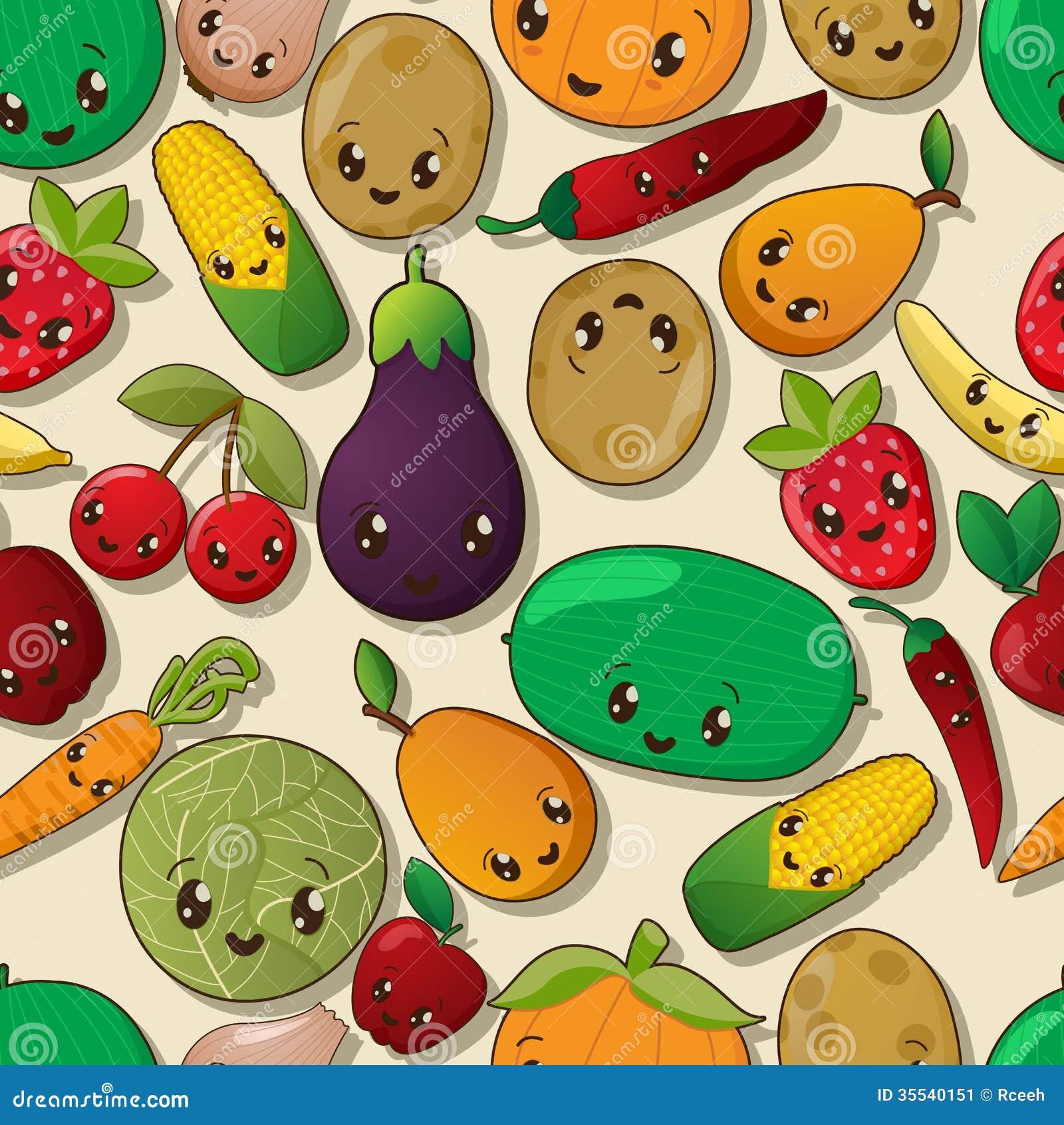 Seamless kawaii pattern Stock Image