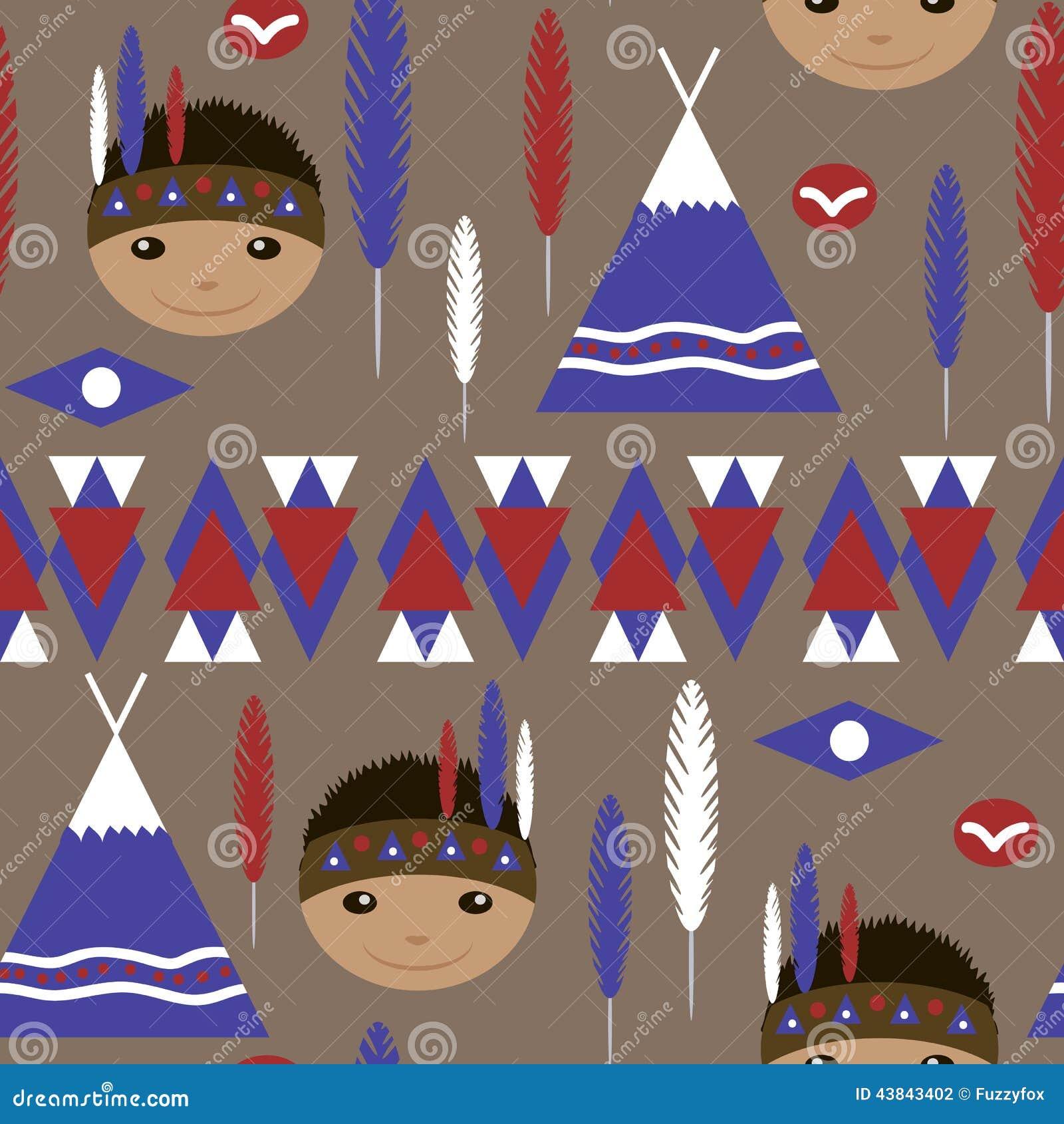 Seamless Kids Cute American Indian Native Retro Pattern