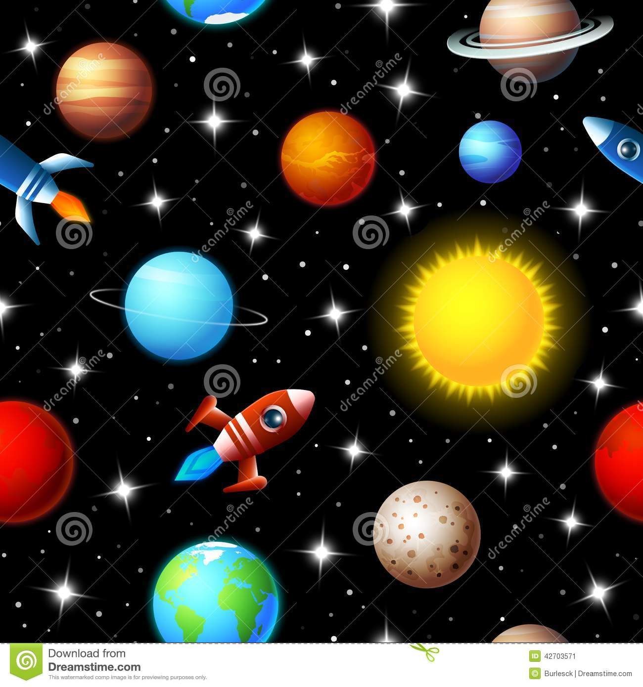 Seamless kids design of rockets and planets stock vector for Outer image design