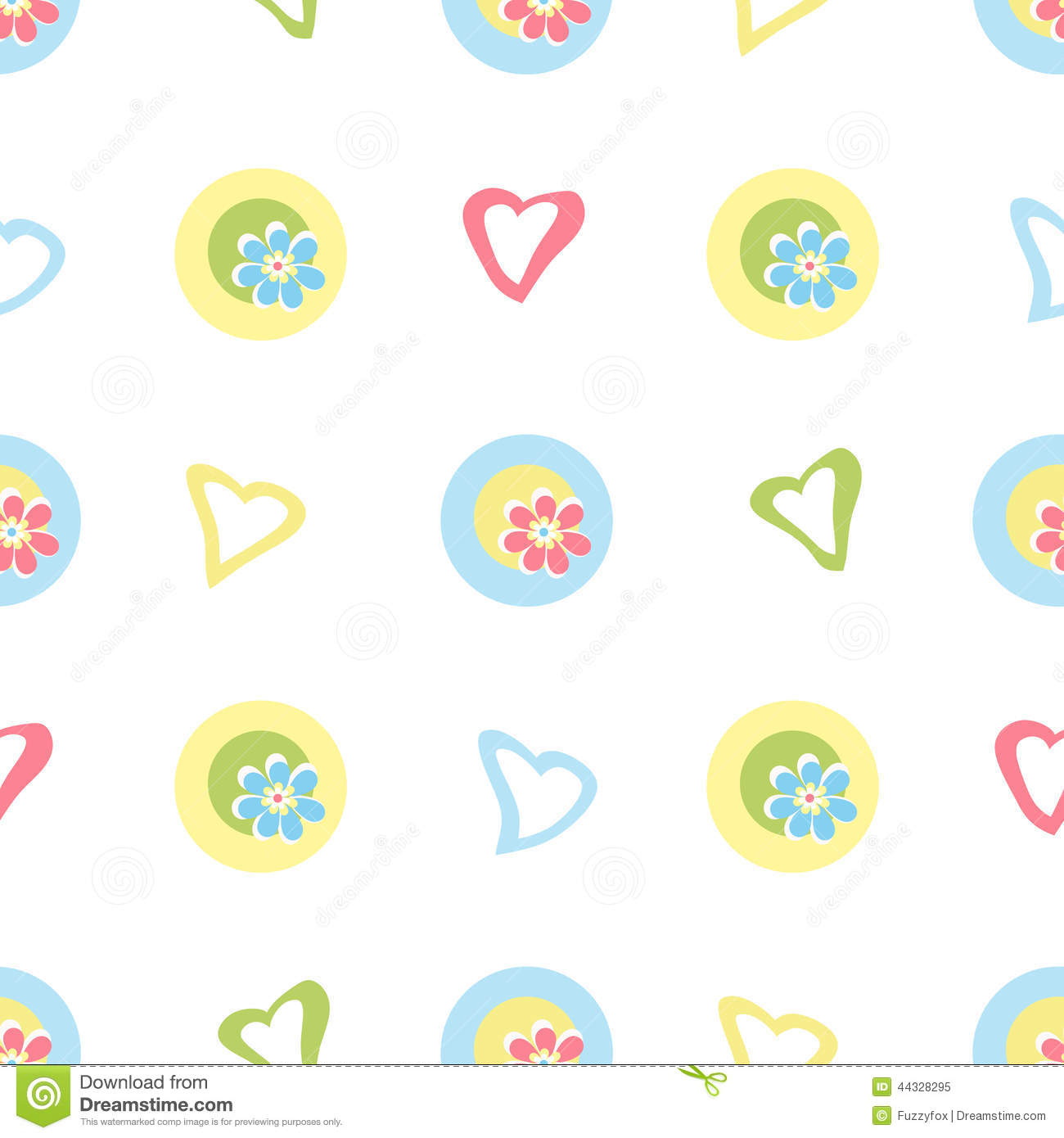 Seamless Kids Pattern With Cartoon Flowers And Hearts Background