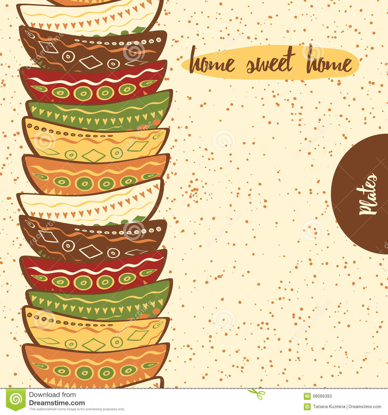 Seamless Kitchen Border With Hand Drawing Cute Colored ...