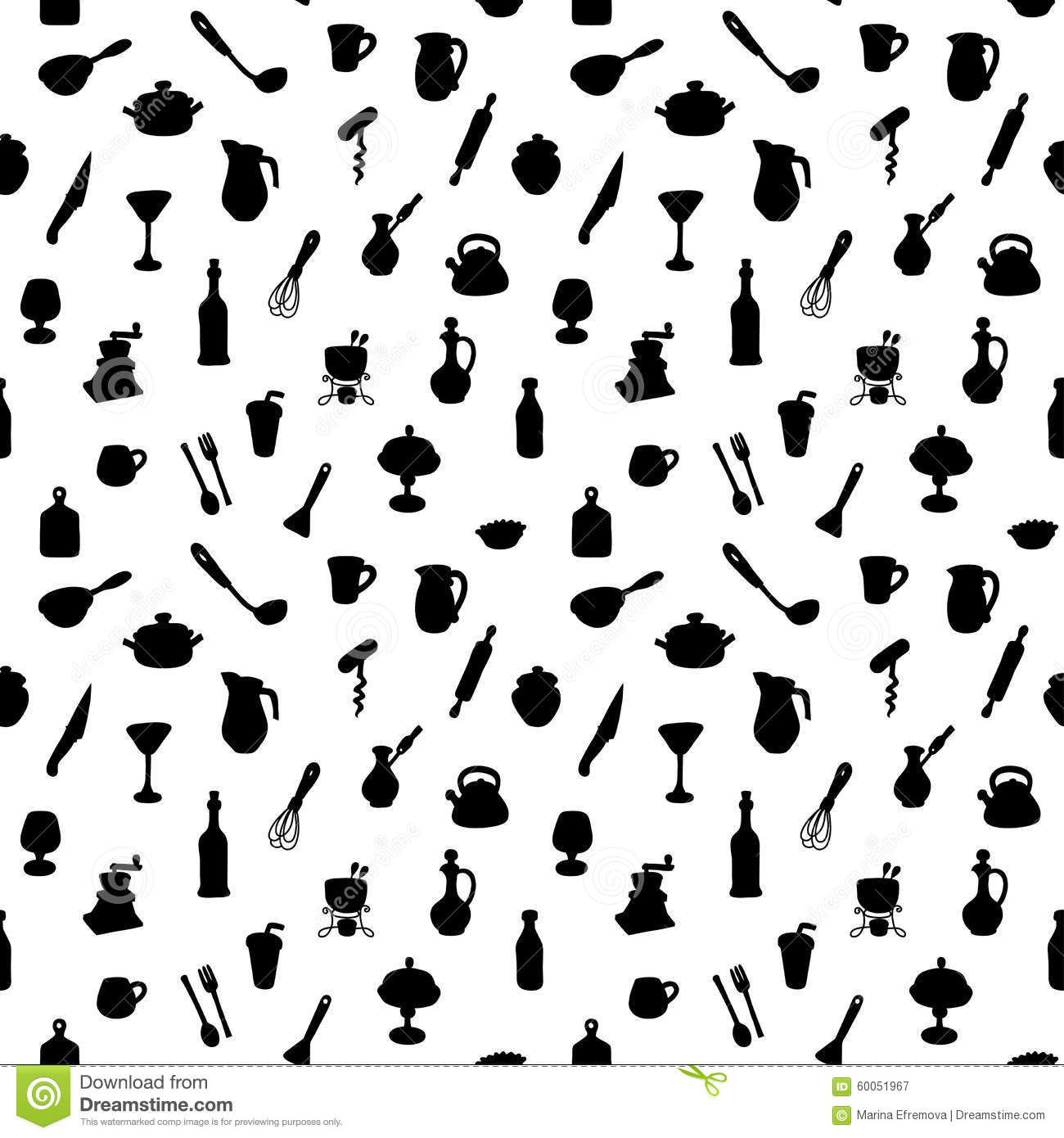 Seamless Kitchen Pattern Vector Illustration Stock Vector