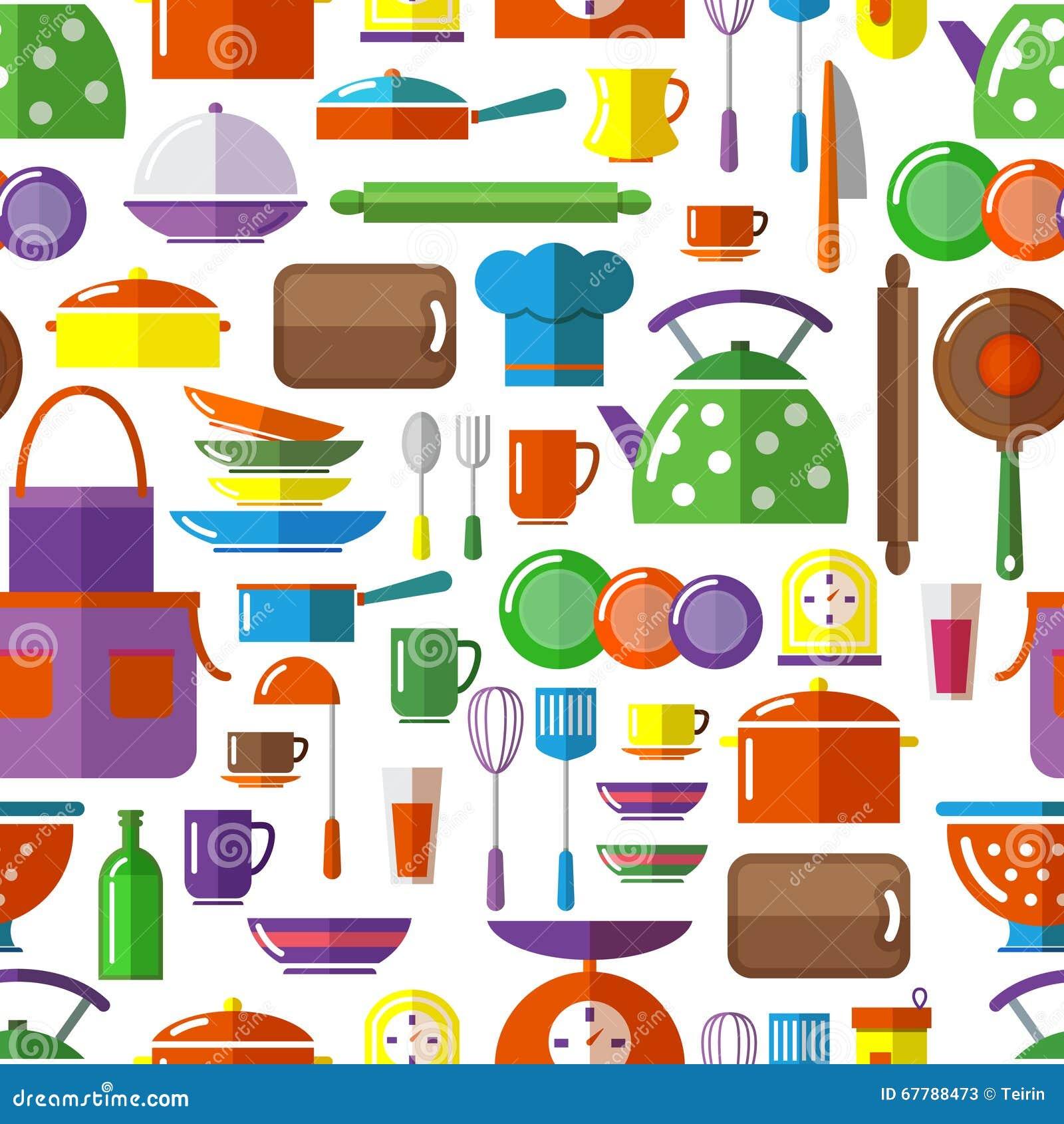 Kitchen Utensils Background: Seamless Kitchen Tools Background Stock Vector