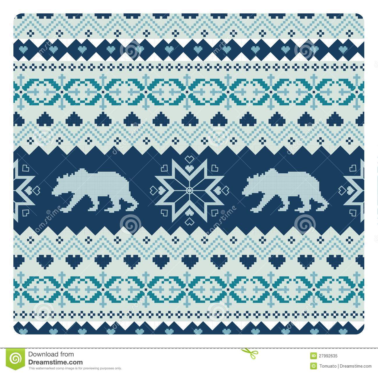 Seamless Knitted Pattern With Bears Stock Vector - Illustration of ...