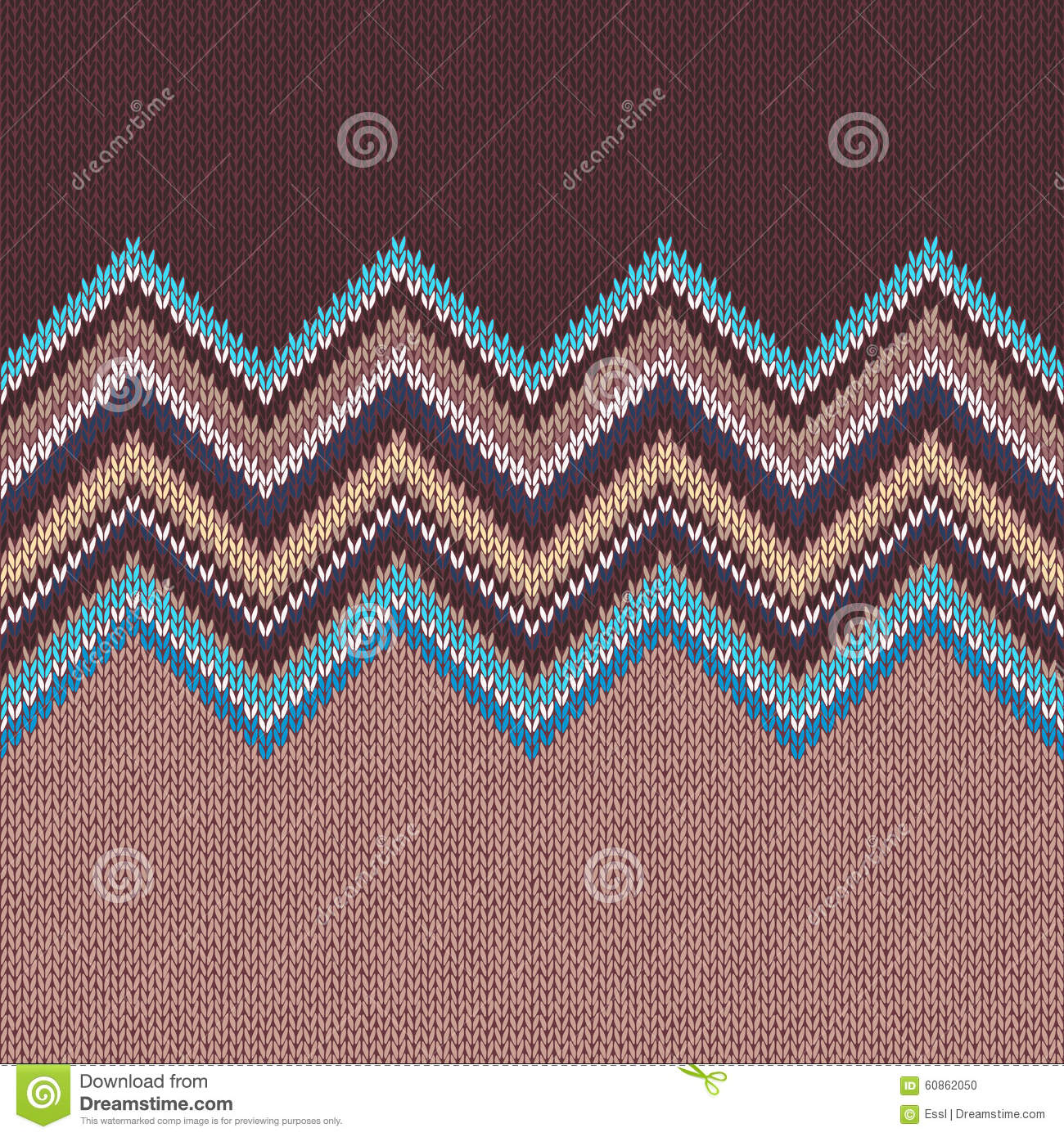 Seamless Knitting Pattern With Wave Ornament Stock Vector
