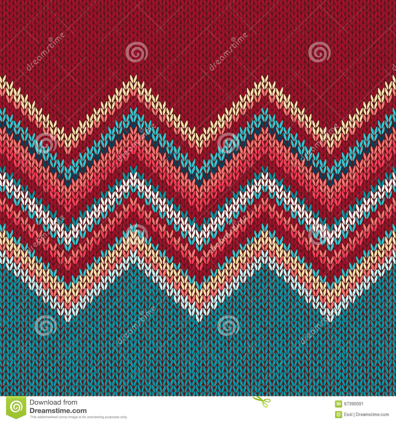 Seamless Knitting Pattern With Wave Ornament Stock Vector ...