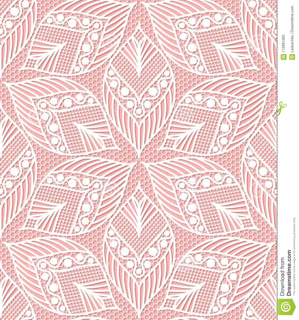 Seamless lace pattern made of abstarct ethnic ornamental leaves