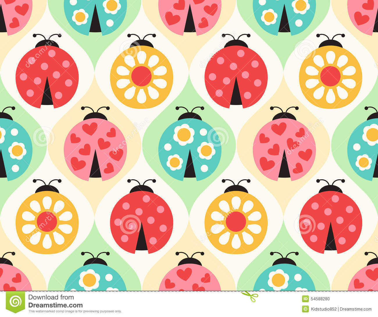Seamless Ladybug Insects Pattern Stock Vector Image