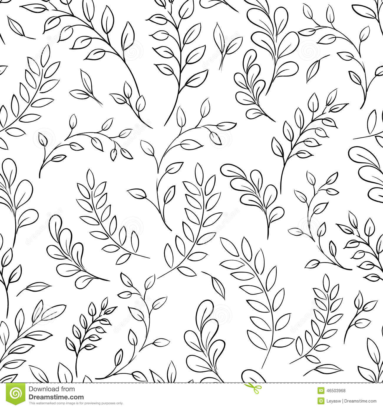 Seamless Leaf Black And White Pattern Stock Vector Illustration