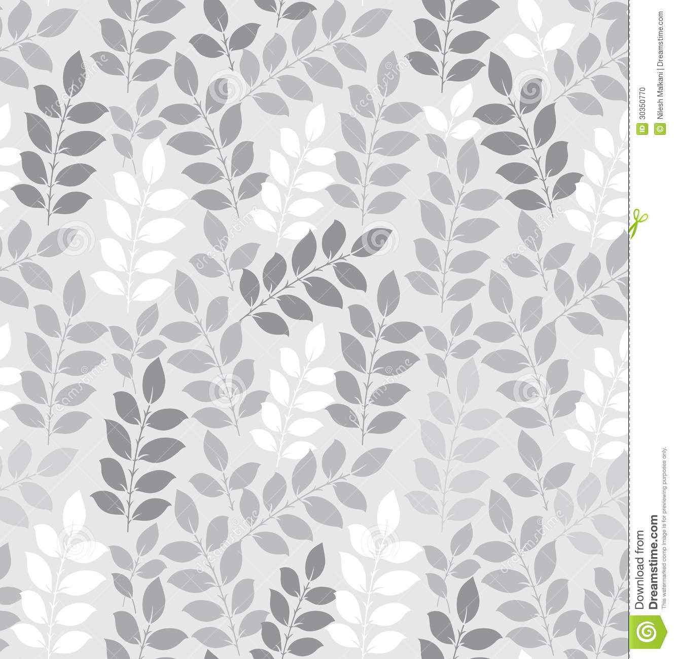 Seamless Leaves Wallpaper In Silver Stock Photo - Image