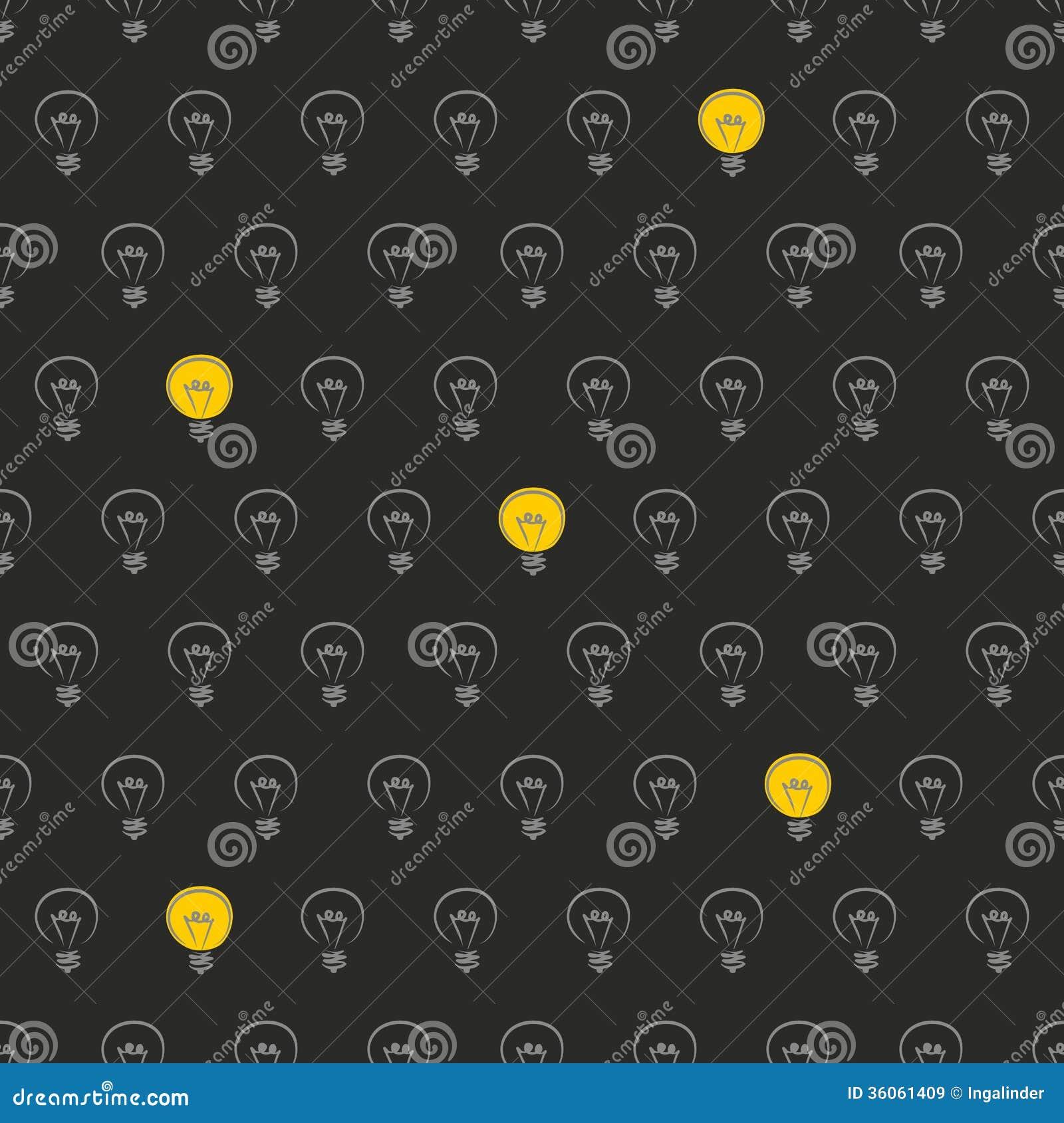 Light Bulb Wallpaper: Seamless Vector Light Bulb On Black Background Pat Royalty