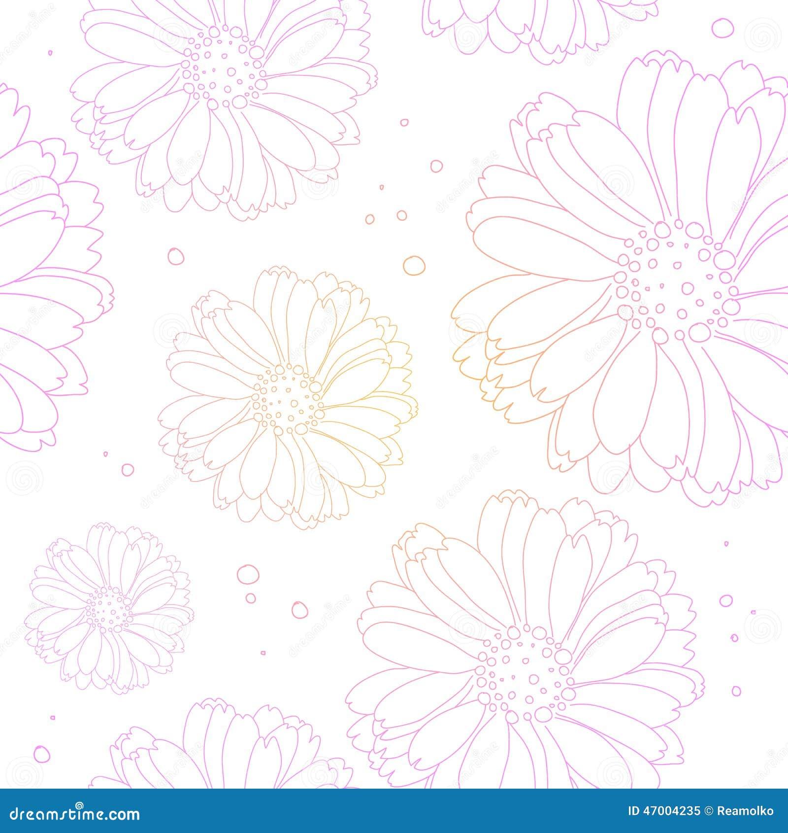 Seamless Light Flower Background. Floral Pattern. Stock