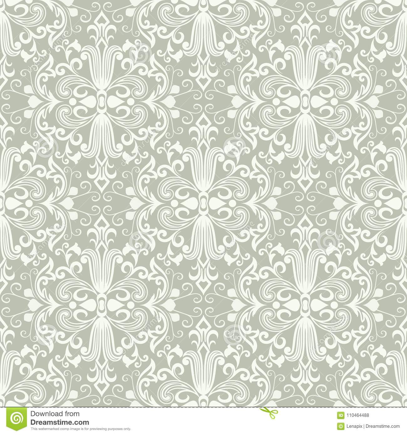 Seamless Light Green And White Floral Wallpaper Stock Vector