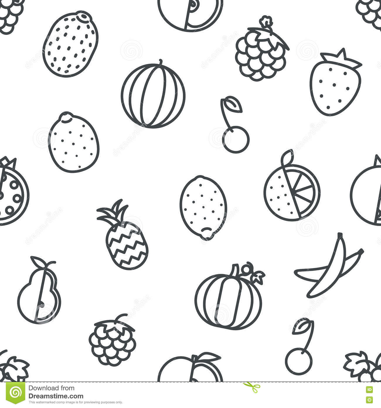 Line Art Icons : Line art fruit icons set flat design isolated vector