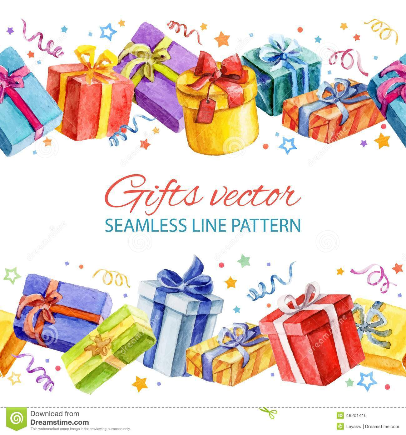 Seamless Line Pattern With Christmas And New Year Gifts. Watercolor ...