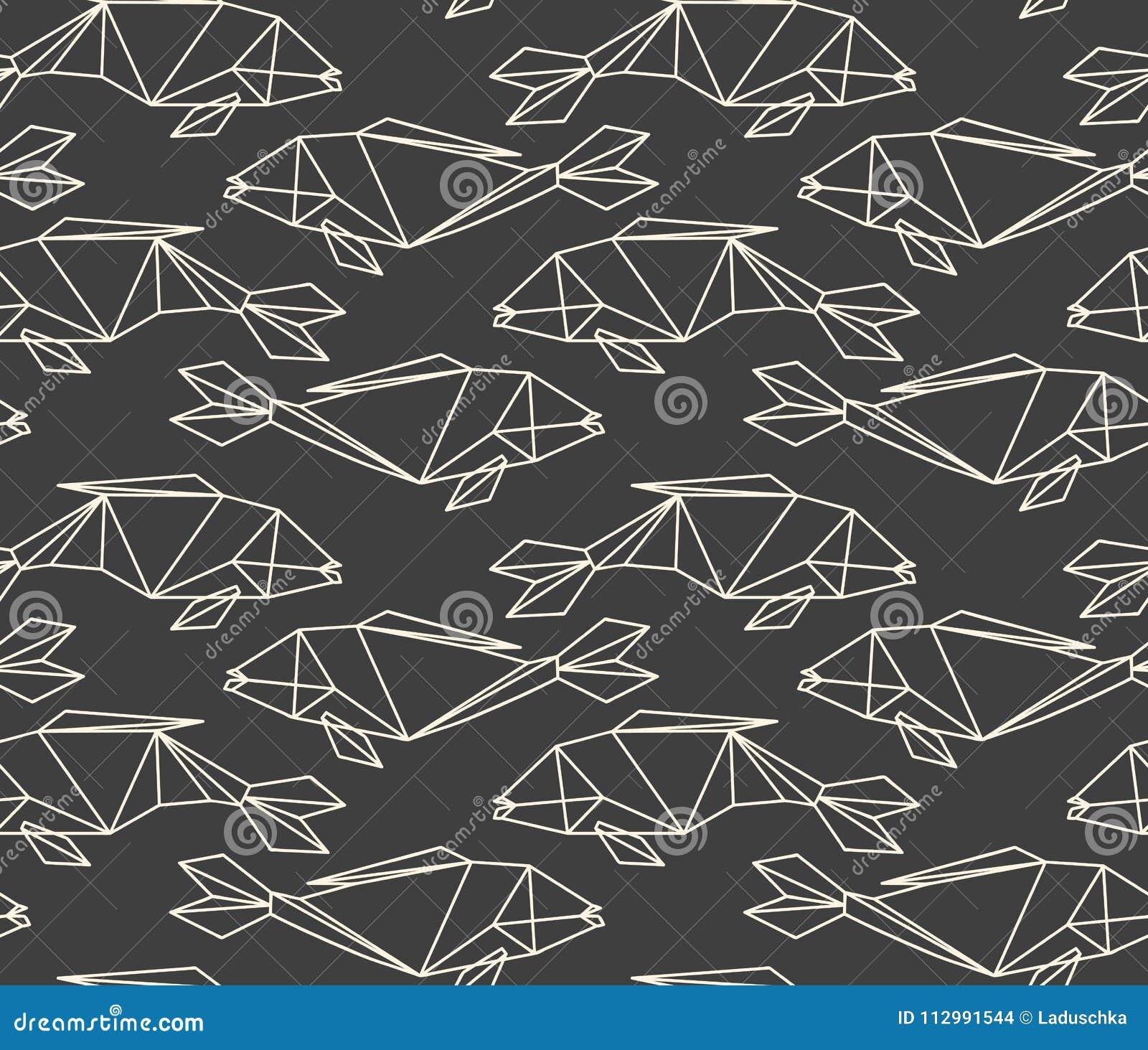 Seamless linear polygon fish pattern