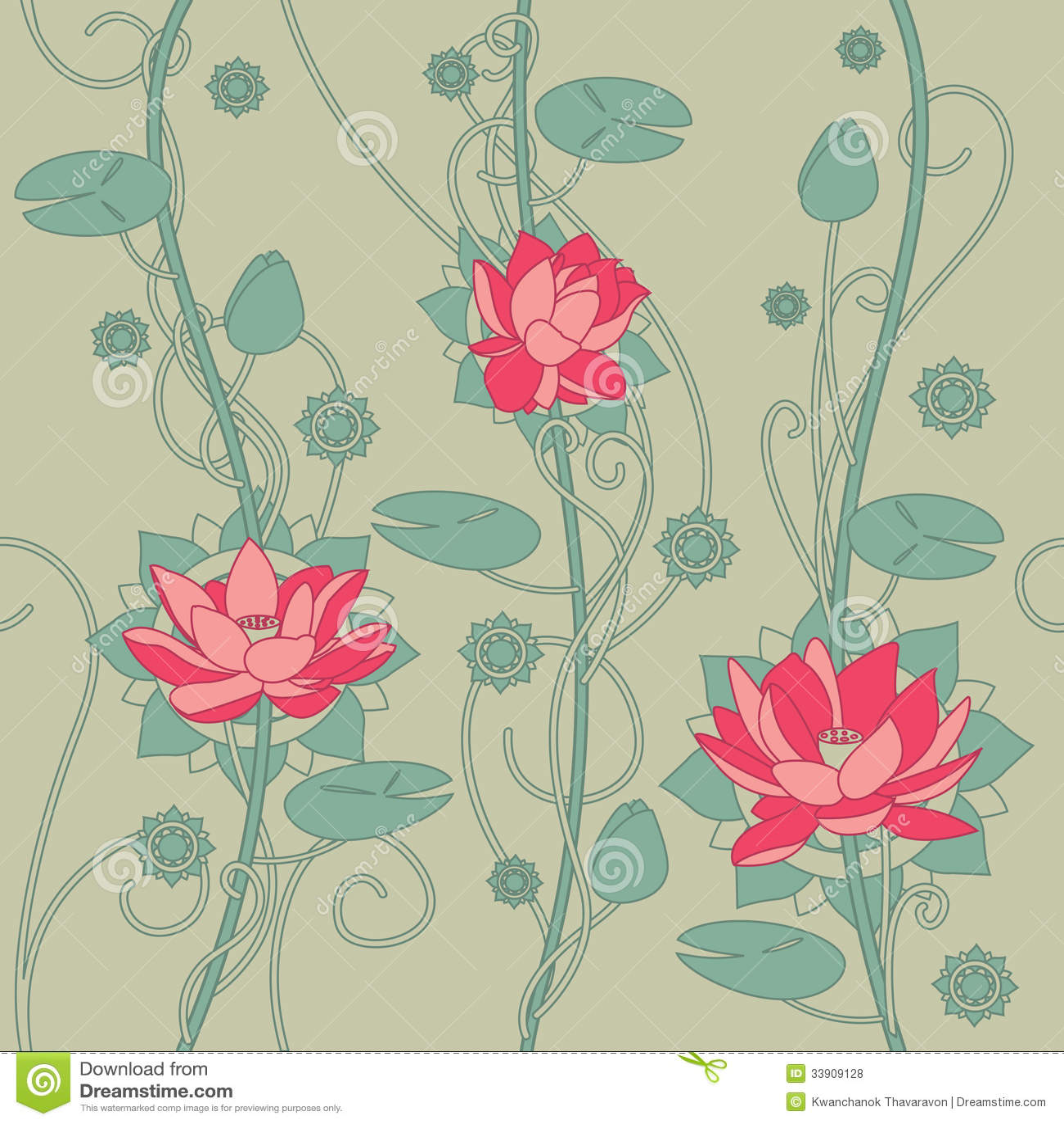 Seamless Lotus Flower Background Stock Illustration Illustration