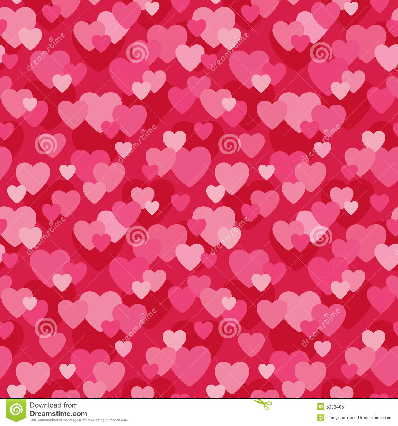 Seamless Love Hearts Background In Pink And Red Stock ...