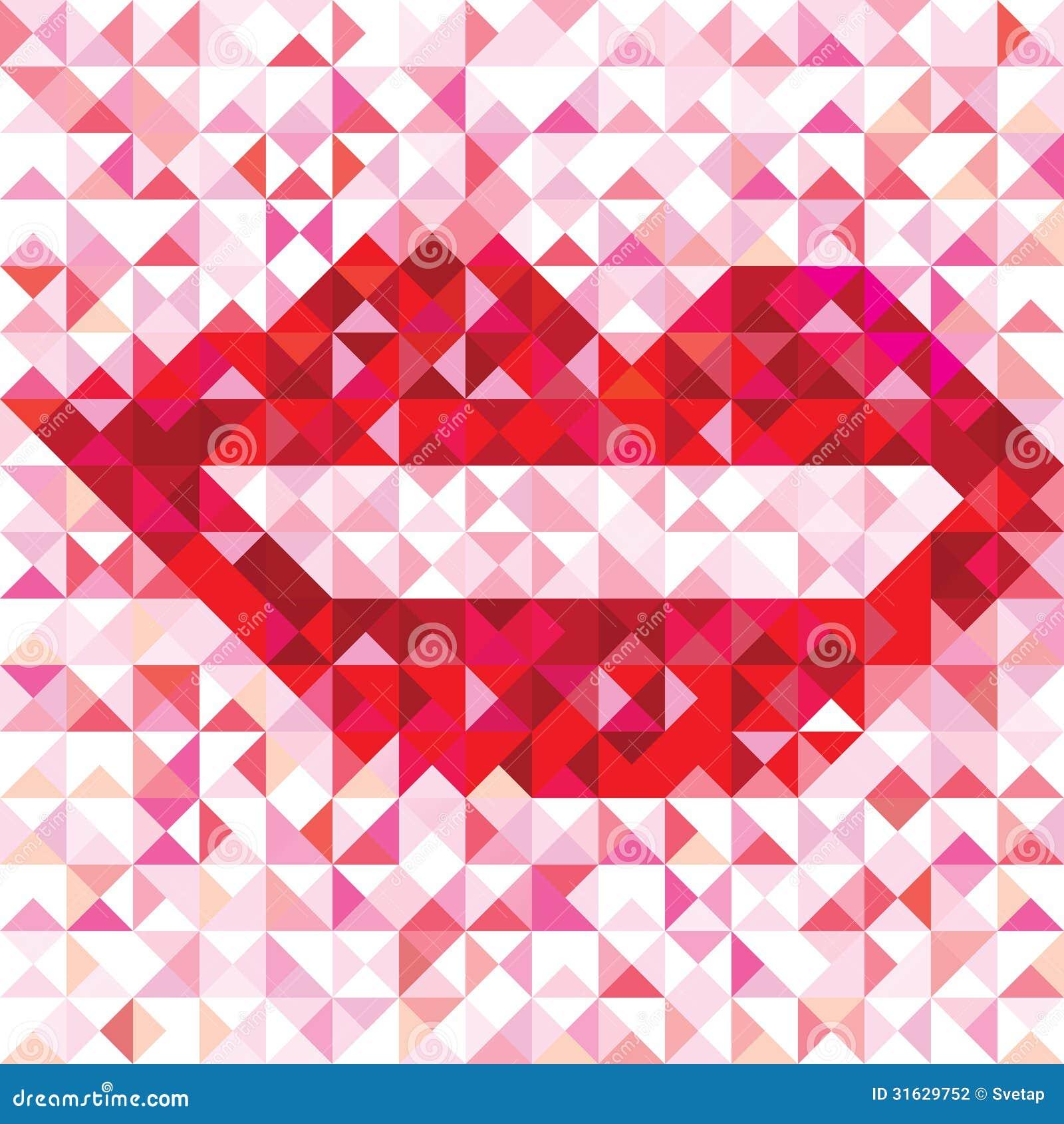 Seamless Love Pattern Of Geometric Lip Stock Photography