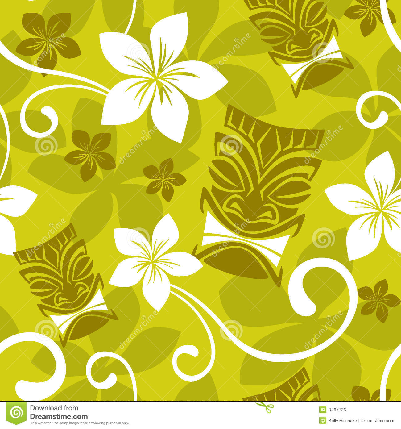 Seamless Luau Tiki Pattern stock illustration. Image of