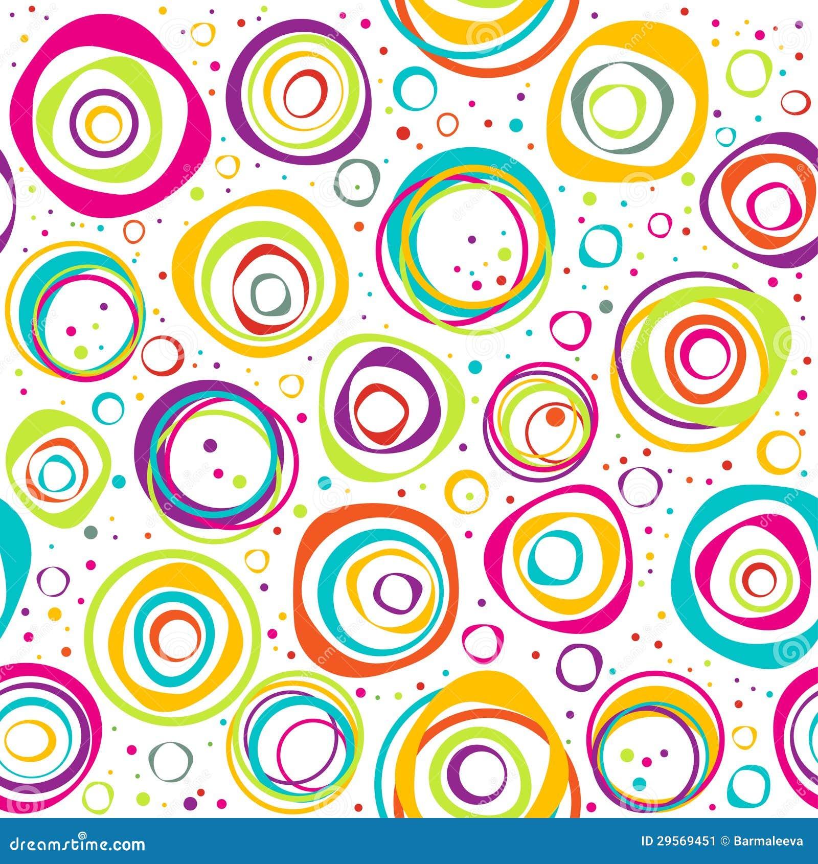 Seamless mönstra med cirklar och pricker på vitbakgrund